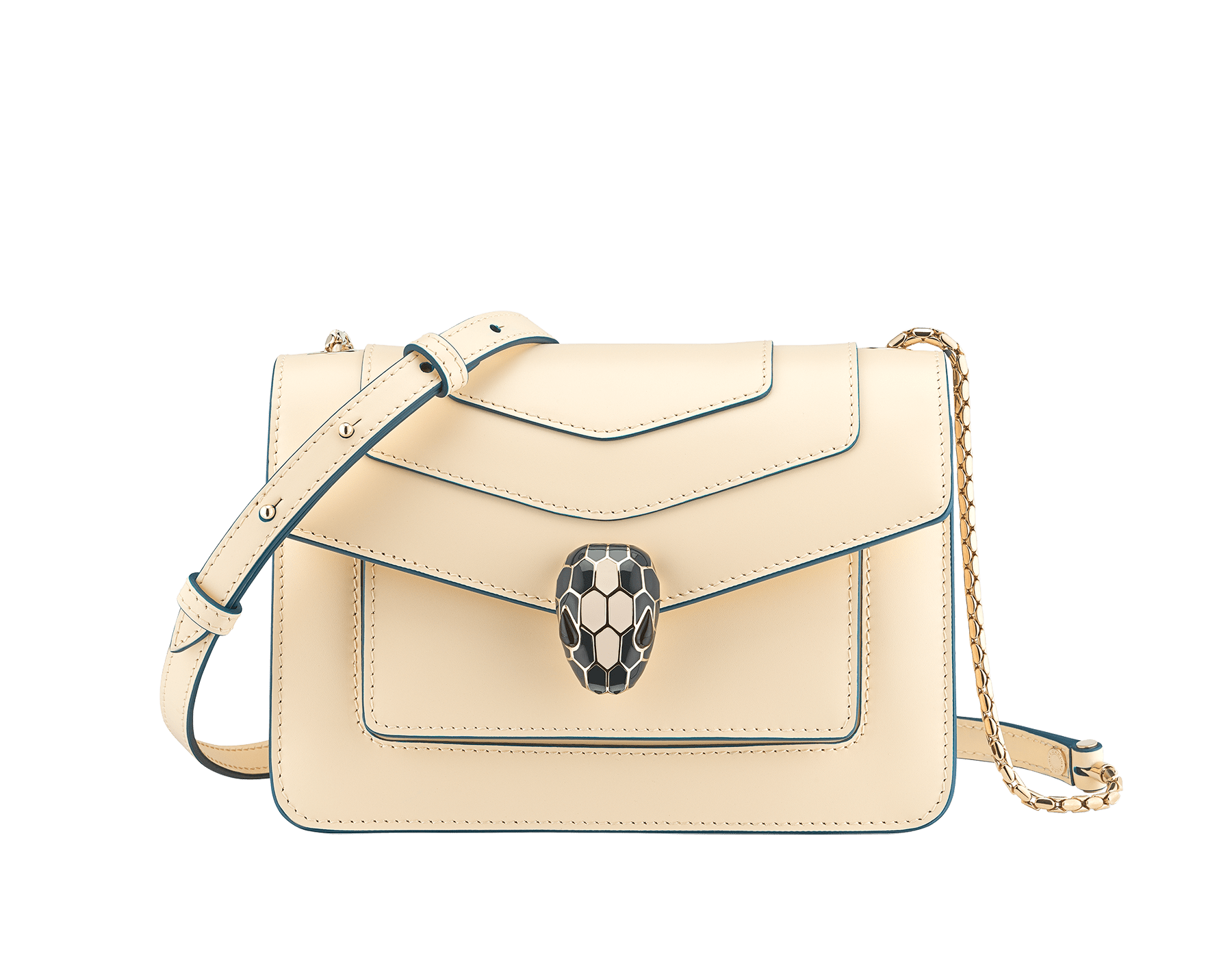"""""""Serpenti Forever"""" crossbody bag in mint calf leather. Iconic snakehead closure in light gold plated brass enriched with black and white agate enamel and green malachite eyes. 1082-CLb image 1"""
