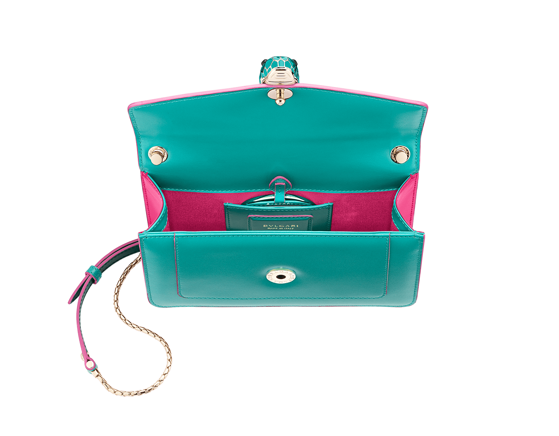 """Serpenti Forever"" crossbody bag in arctic jade calf leather body and flash amethyst calf leather sides. Iconic snakehead closure in light gold plated brass enriched with arctic jade and flash amethyst enamel and black onyx eyes. 289543 image 4"