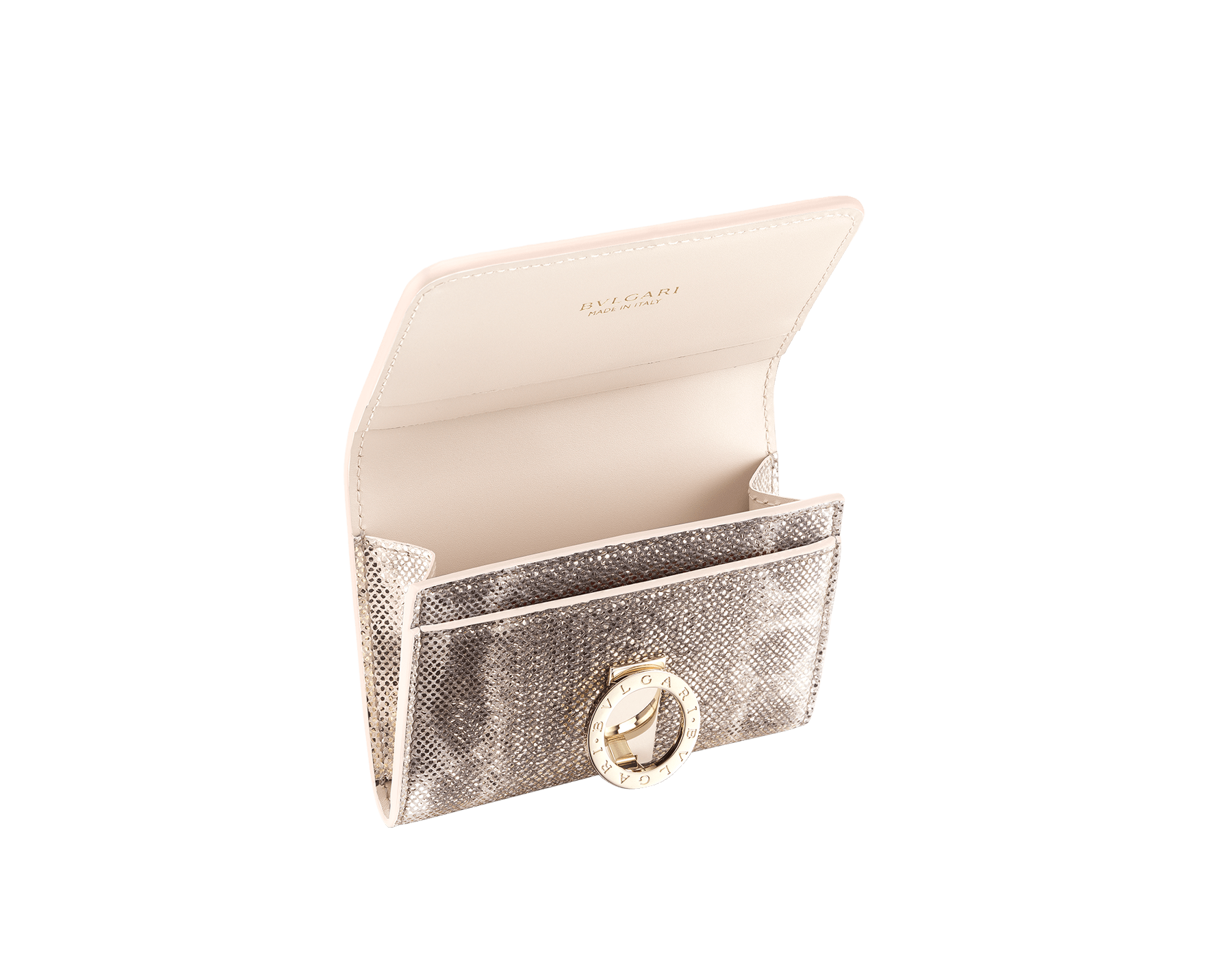 Business card holder in emerald green shiny karung skin and amethyst purple nappa. Iconic brass light gold plated clip featuring the BVLGARI BVLGARI motif. 579-BC-HOLDER-MK image 2