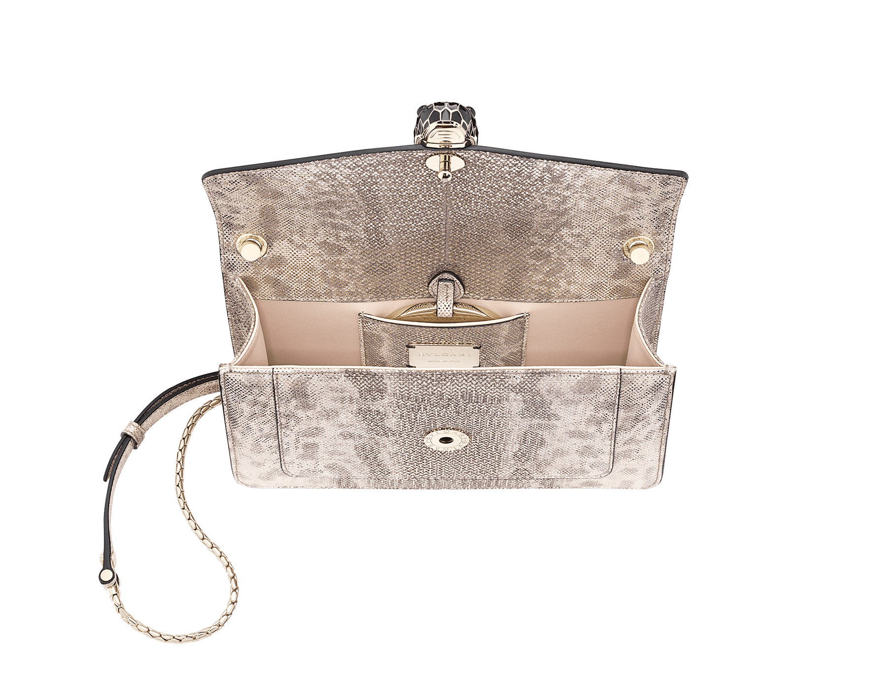 """""""Serpenti Forever"""" crossbody bag in milky opal metallic karung. Iconic snake head closure in light gold-plated brass enriched with black and glitter milky opal and black onyx eyes. 289556 image 4"""