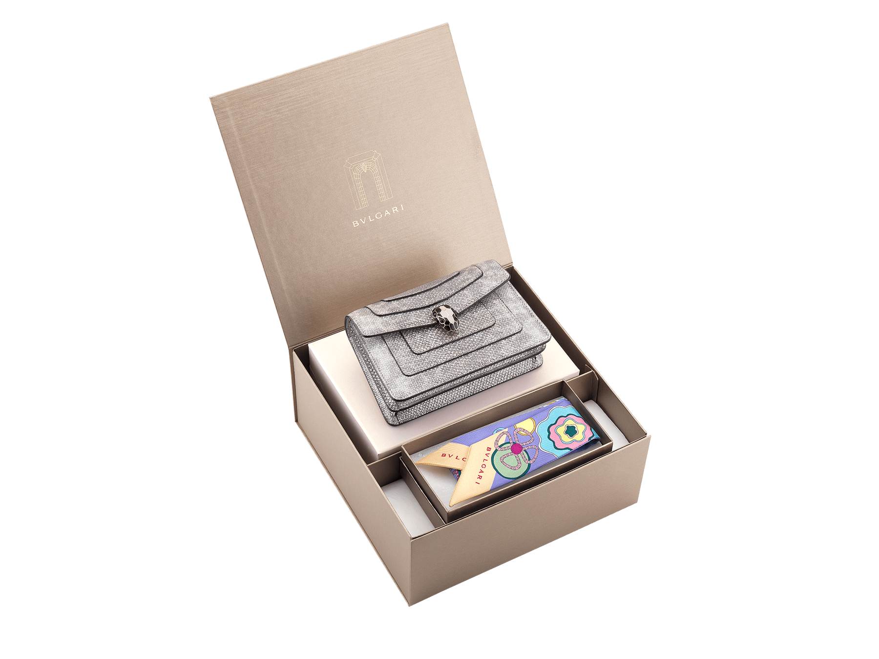 An elegant box composed of a white agate metallic karung skin bag and a Lavender Amethyst lilac silk twill shelley, for a special gift.  <br>*Note that not all color variants may be available.<br> Women-Gift-Set-crossbody-mini-bag-and-shelley image 2