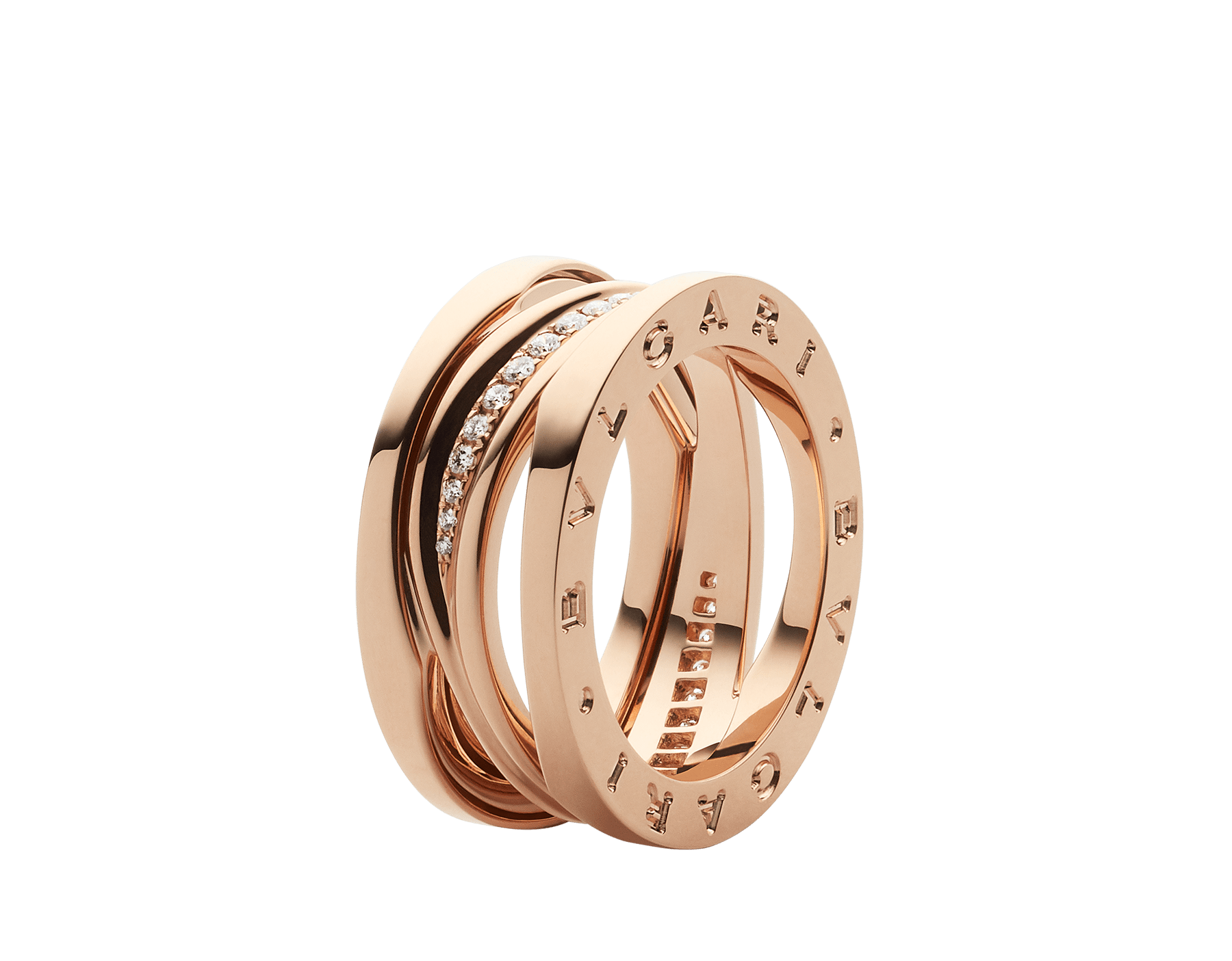 B.zero1 Design Legend ring in 18 kt rose gold set with pavé diamonds on the spiral. AN858365 image 1