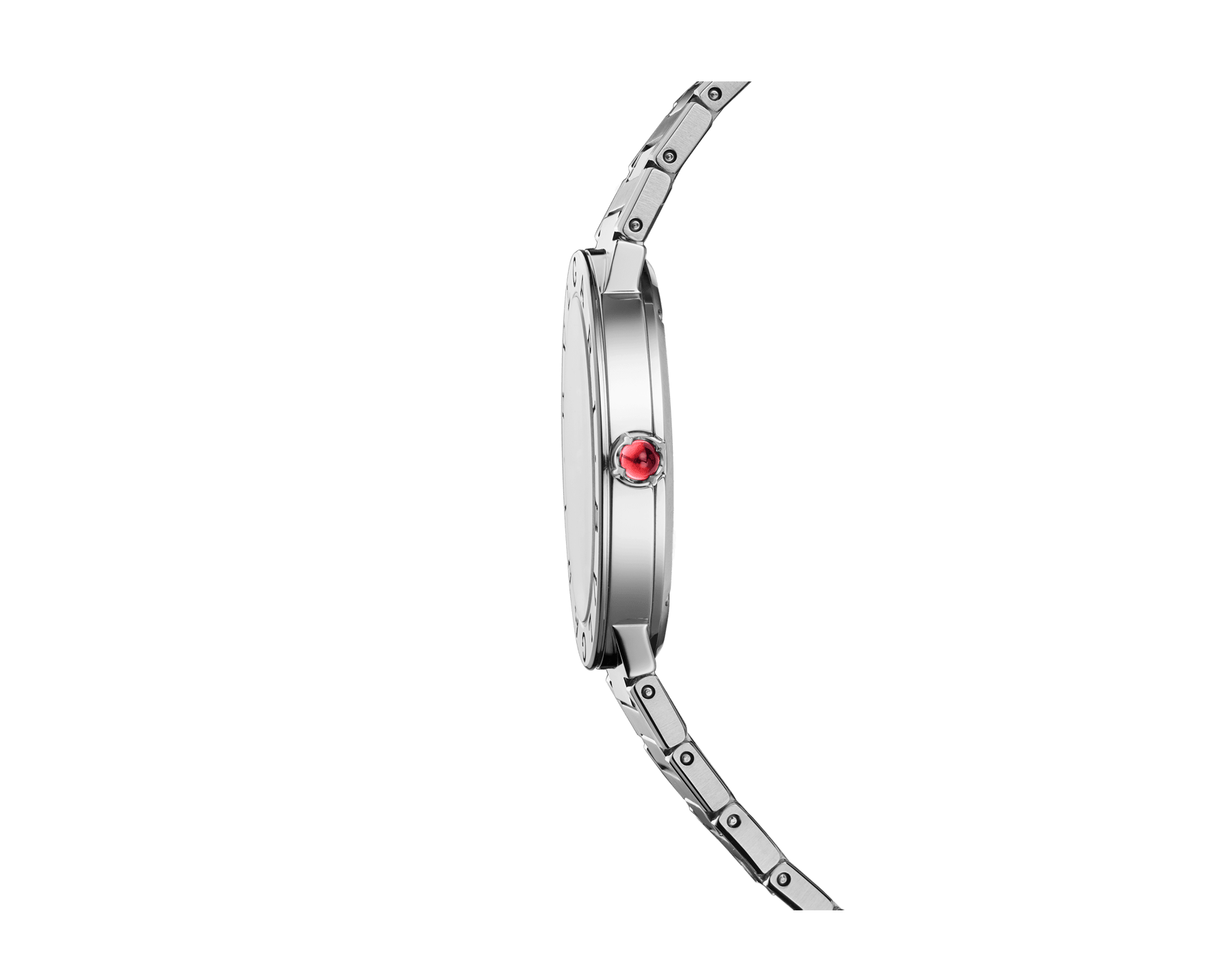 BVLGARI BVLGARI LADY watch in stainless steel case and bracelet, stainless steel bezel engraved with double logo, anthracite satiné soleil lacquered dial and diamond indexes 102923 image 2