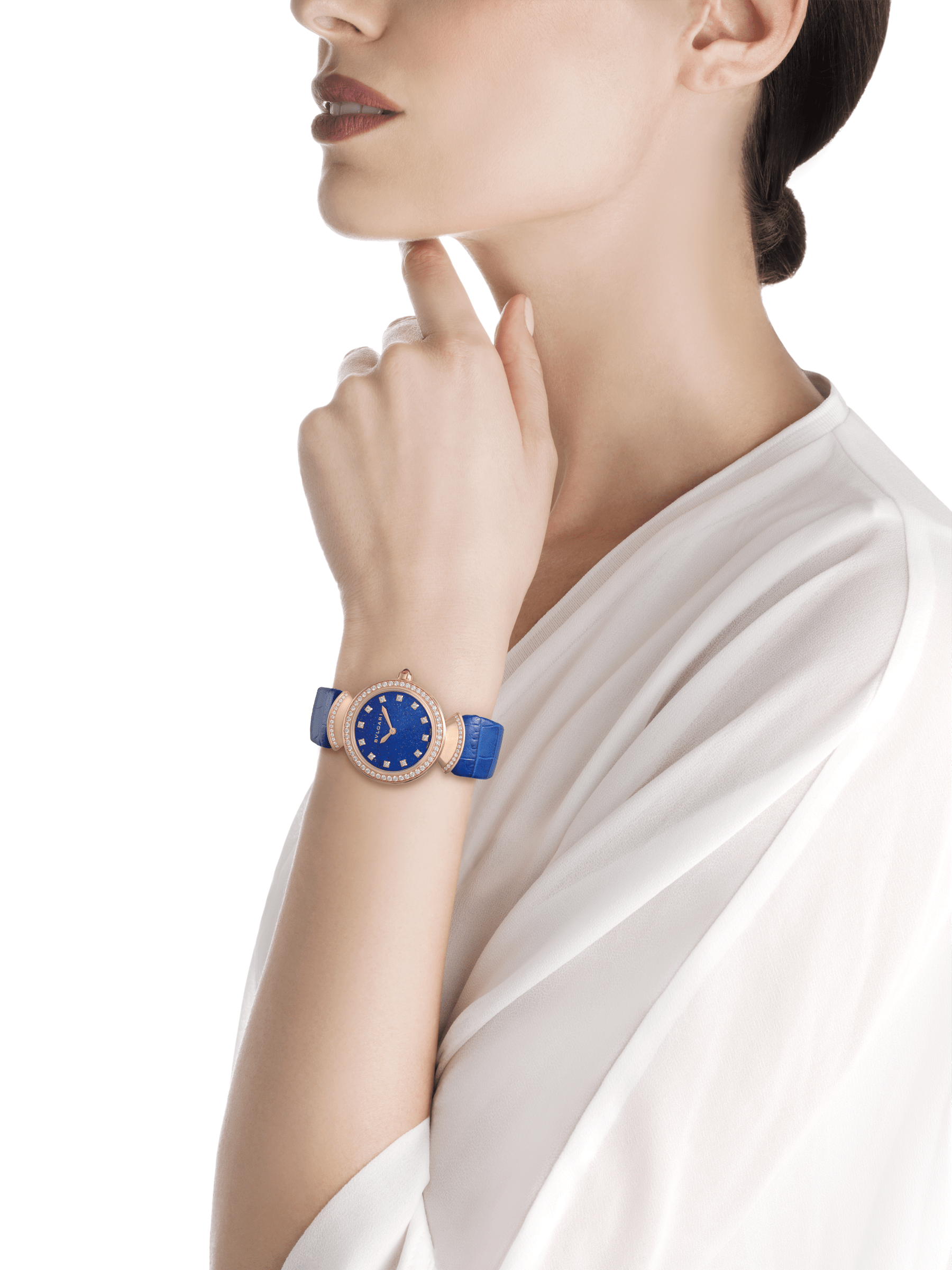 DIVAS' DREAM watch with 18 kt rose gold case, 18 kt rose gold bezel and fan-shaped links both set with round brilliant-cut diamonds, lapis lazuli dial, diamond indexes and blue alligator bracelet 103261 image 4