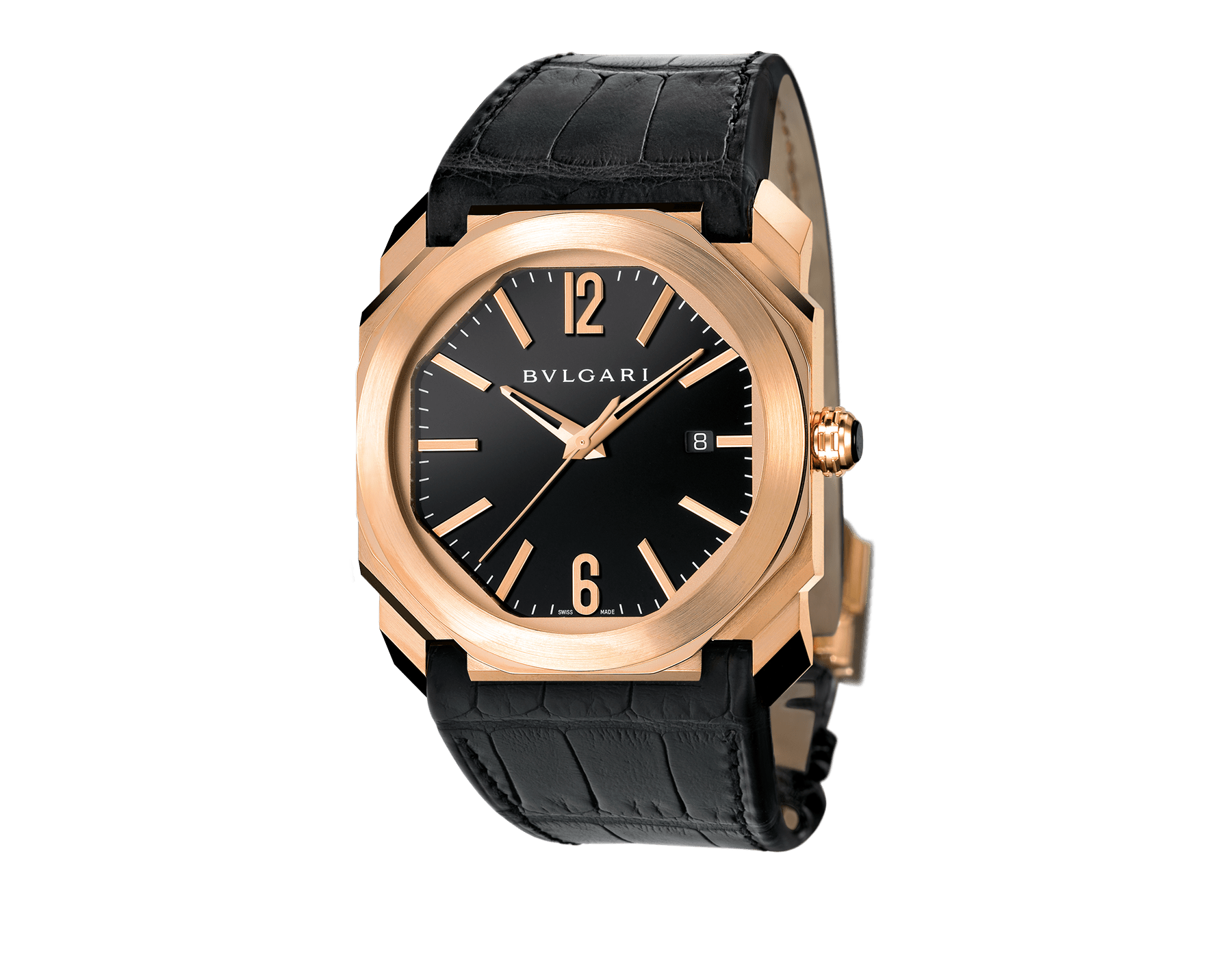 Octo watch with mechanical manufacture movement, automatic winding and date, 18 kt rose gold case, black lacquered dial and black alligator bracelet. 101963 image 1