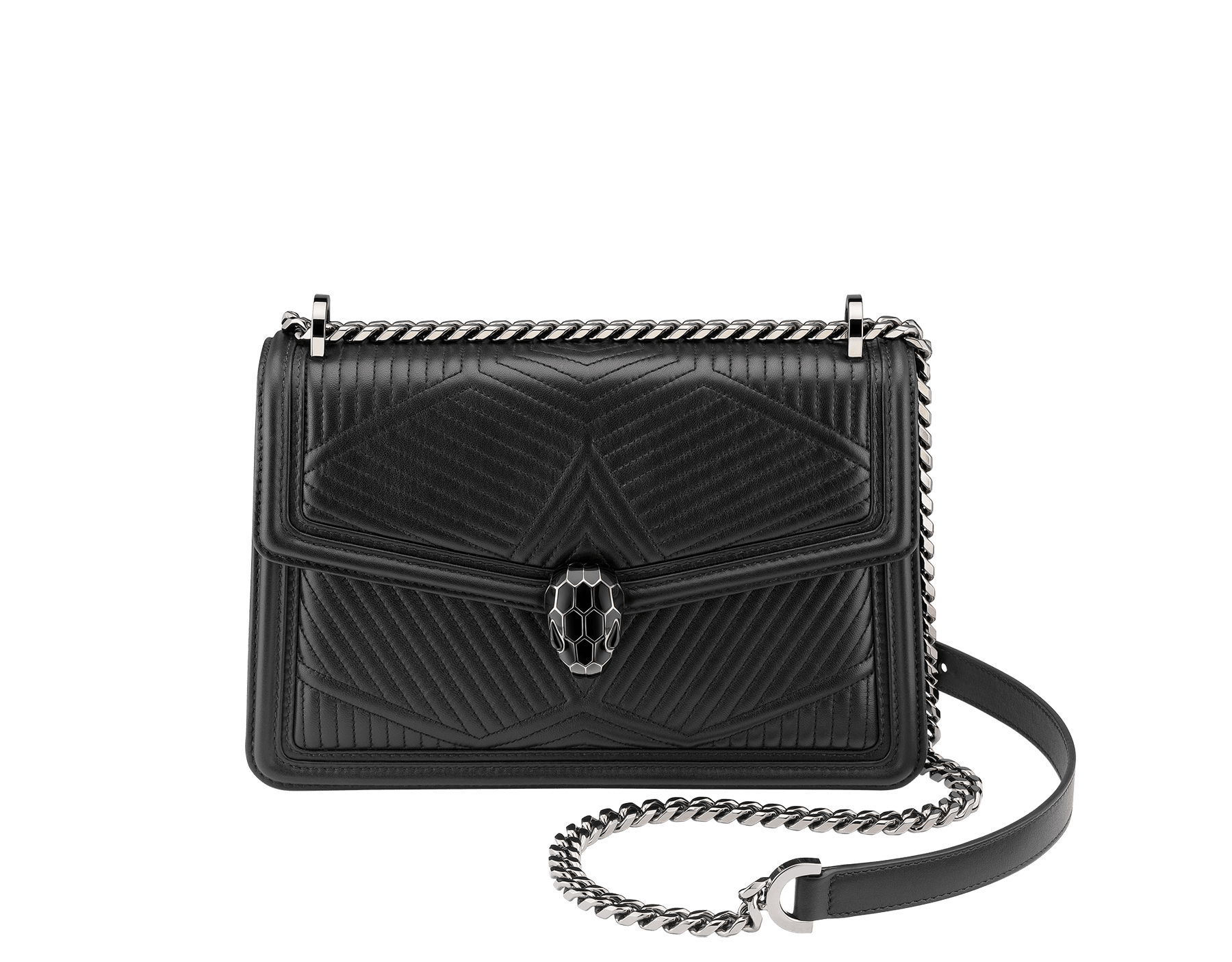 """Serpenti Diamond Blast"" shoulder bag in crystal rose quilted nappa leather body and crystal rose calf leather frames. Iconic snakehead closure in light gold plated brass enriched with black and crystal rose enamel and black onyx eyes 922-FQDa image 1"