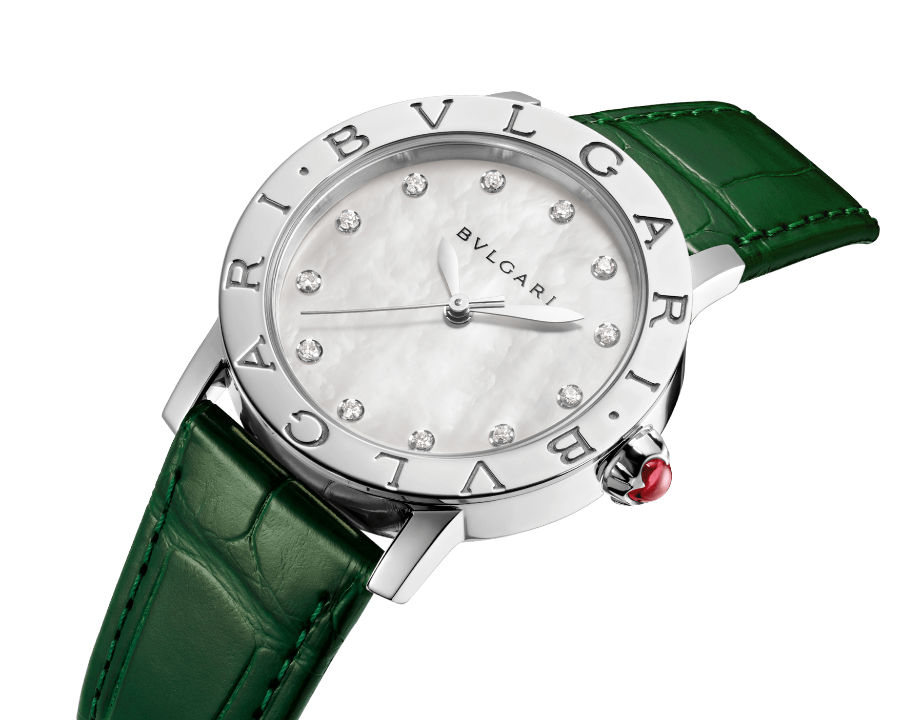 BVLGARI BVLGARI watch with stainless steel case, white mother-of-pearl dial, diamond indexes and shiny green alligator bracelet 102746 image 2