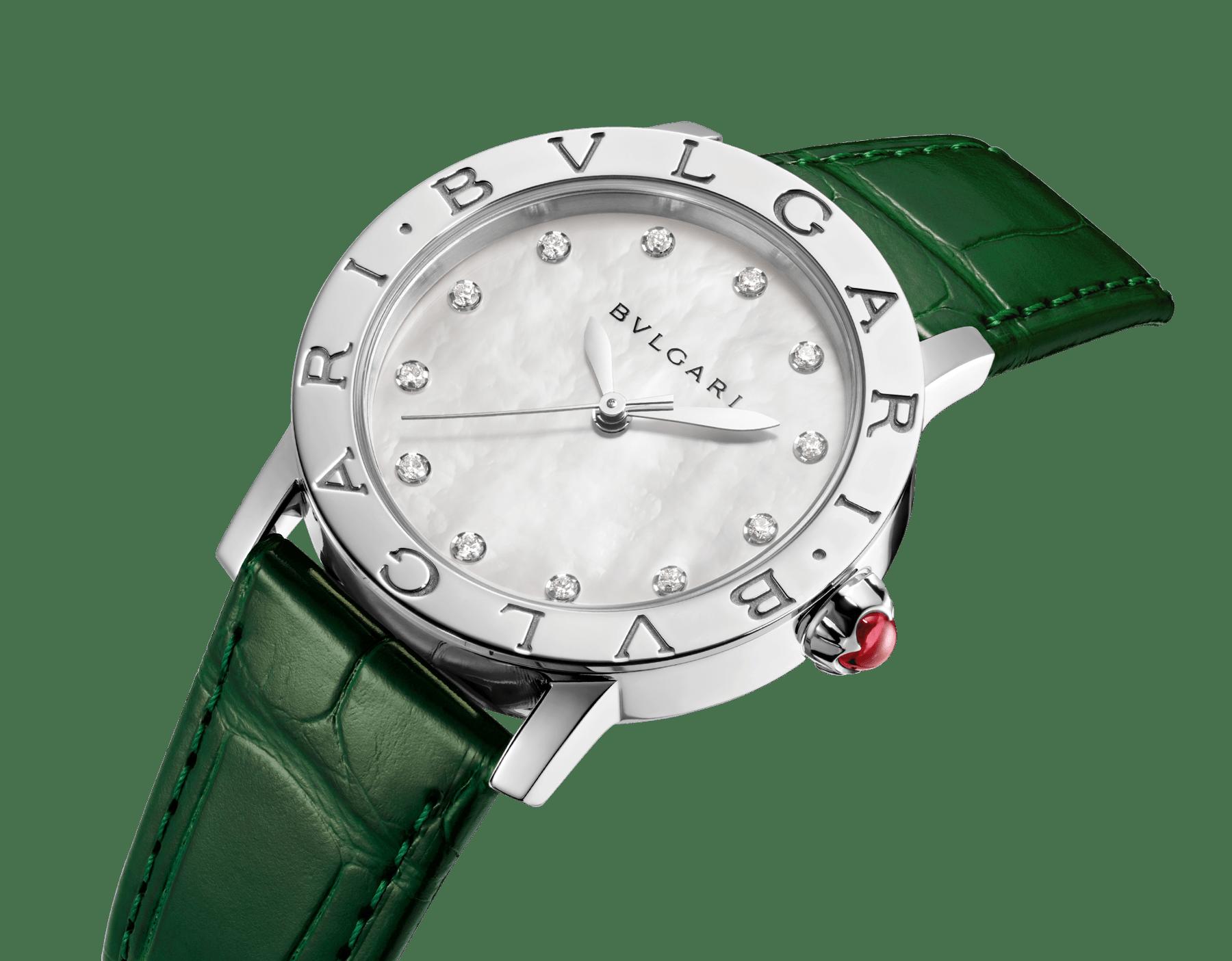 BVLGARI BVLGARI Uhr mit Gehäuse aus Edelstahl, weißem Perlmuttzifferblatt, Diamantindizes und Armband aus glänzend grünem Alligatorleder 102746 image 2