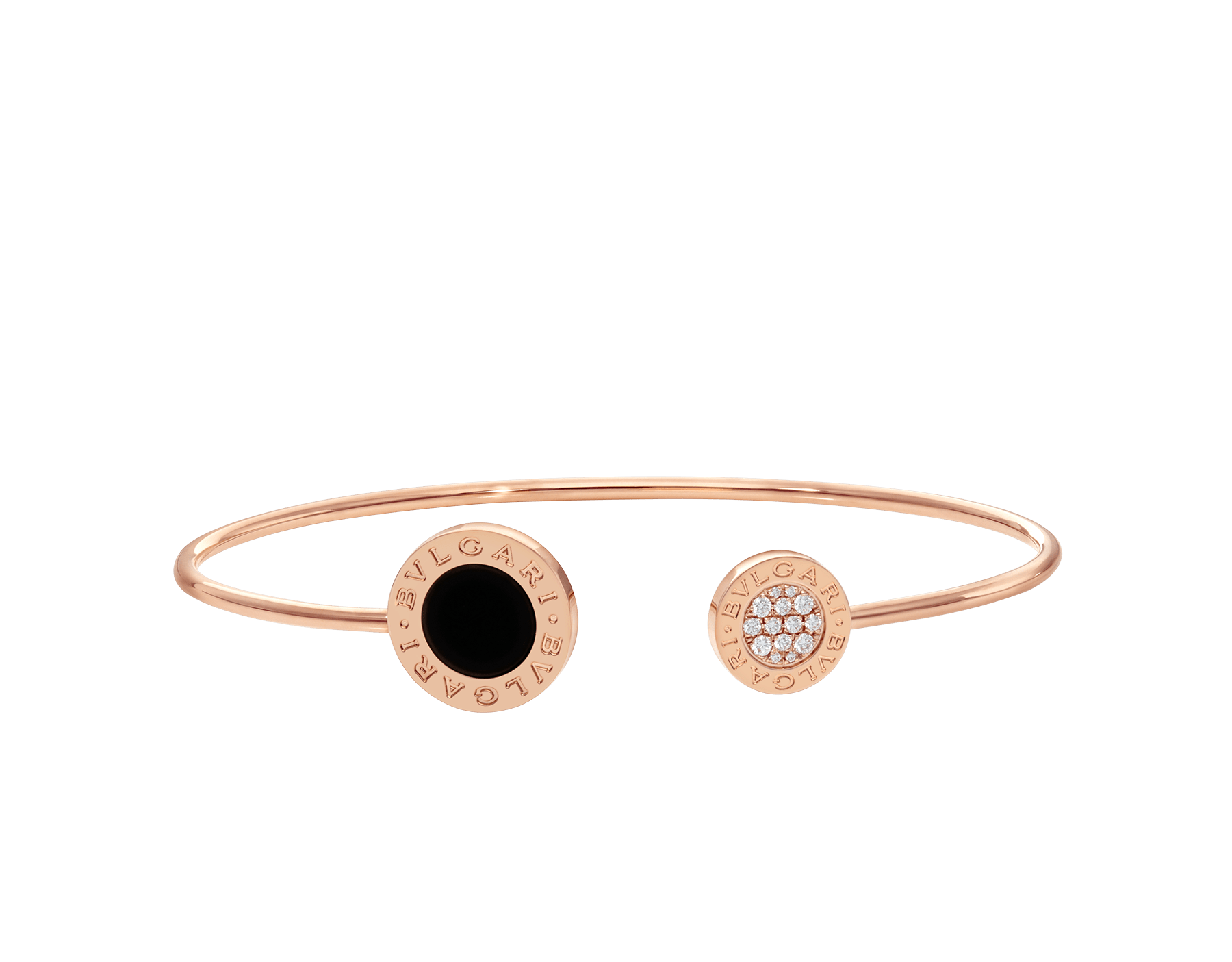 BVLGARI BVLGARI 18 kt rose gold bracelet set with onyx element and pavé diamonds (0.09 ct) BR858633 image 2