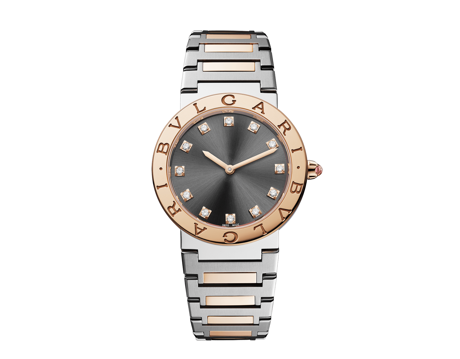BVLGARI BVLGARI LADY watch with stainless steel case, 18 kt rose gold bezel engraved with double logo, gray lacquered dial, diamond indexes, and stainless steel and 18 kt rose gold bracelet. 103067 image 1