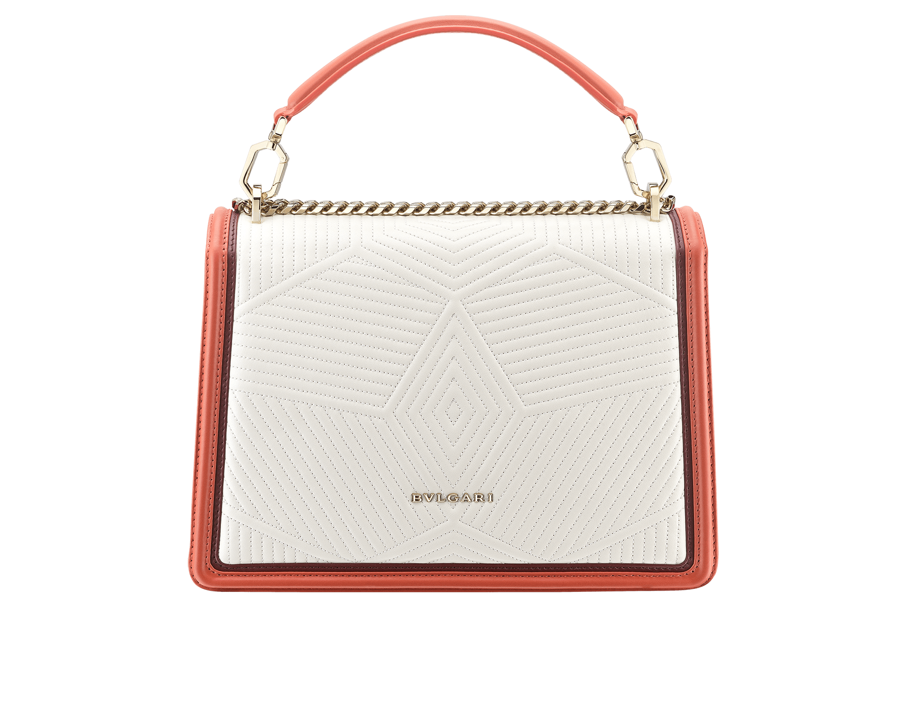 Serpenti Diamond Blast shoulder bag in white agate quilted nappa leather and imperial topaz with Roman garnet calf leather frames. Iconic snakehead closure in light gold plated brass embellished with Roman garnet and black enamel and black onyx eyes. 288840 image 4