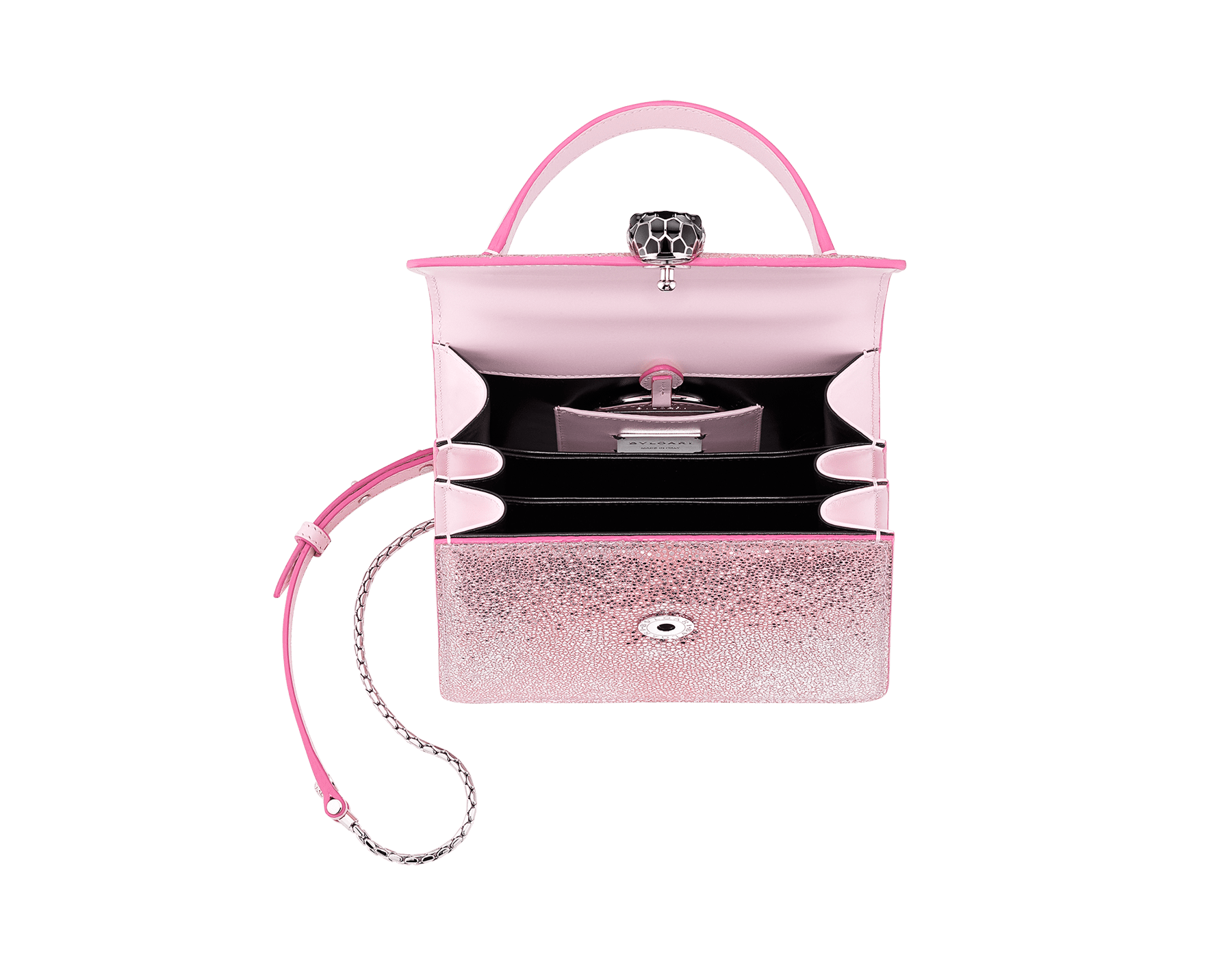 """Serpenti Forever"" crossbody bag in rosa di francia crystal galuchat body and rosa di francia calf leather sides. Iconic snake head closure in palladium-plated brass enriched with black enamel and black onyx eyes. 289459 image 4"