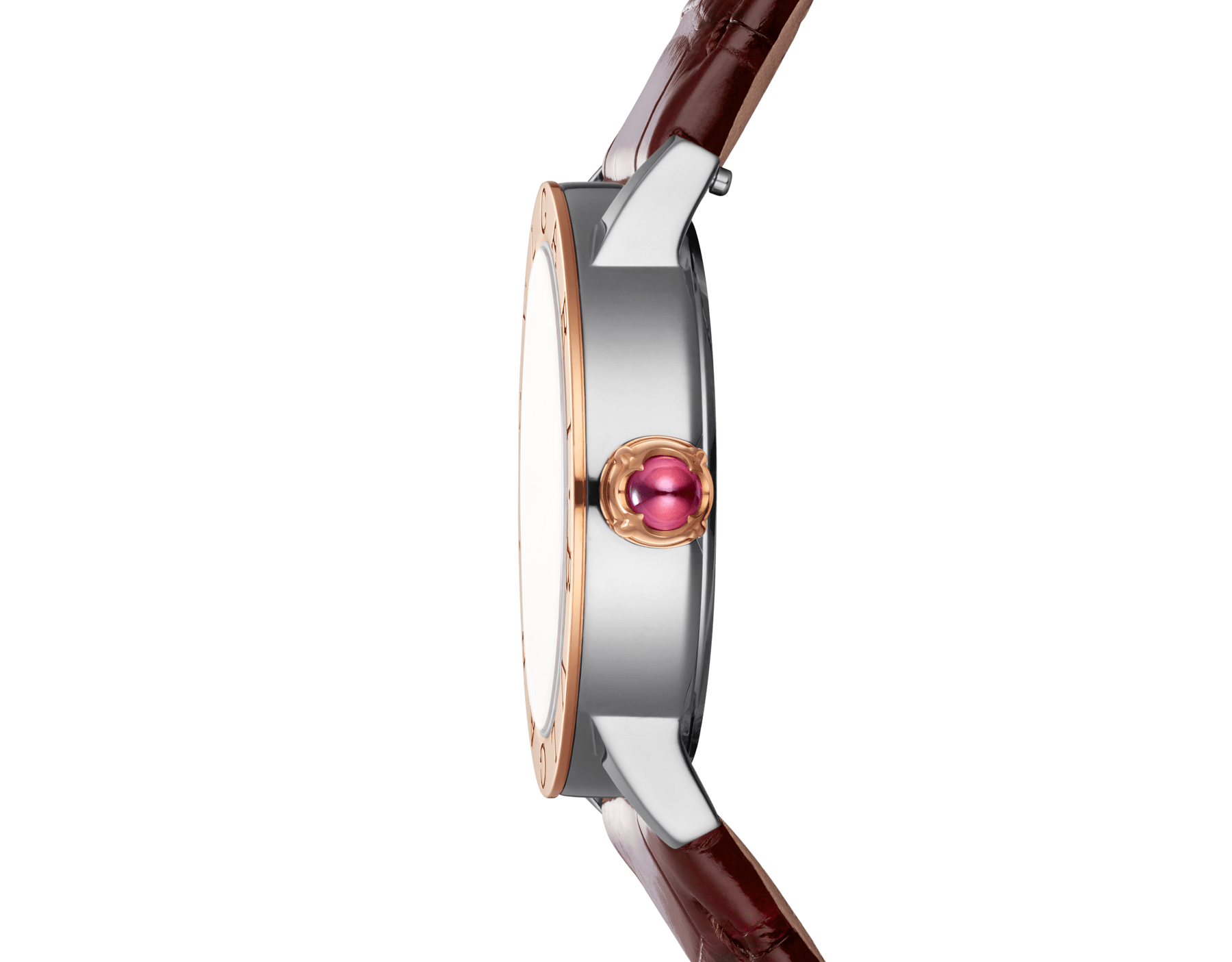 BVLGARI BVLGARI watch with stainless steel case, 18 kt rose gold bezel, brown satiné soleil lacquered dial, golden diamond indexes and shiny dark brown alligator bracelet 102742 image 3