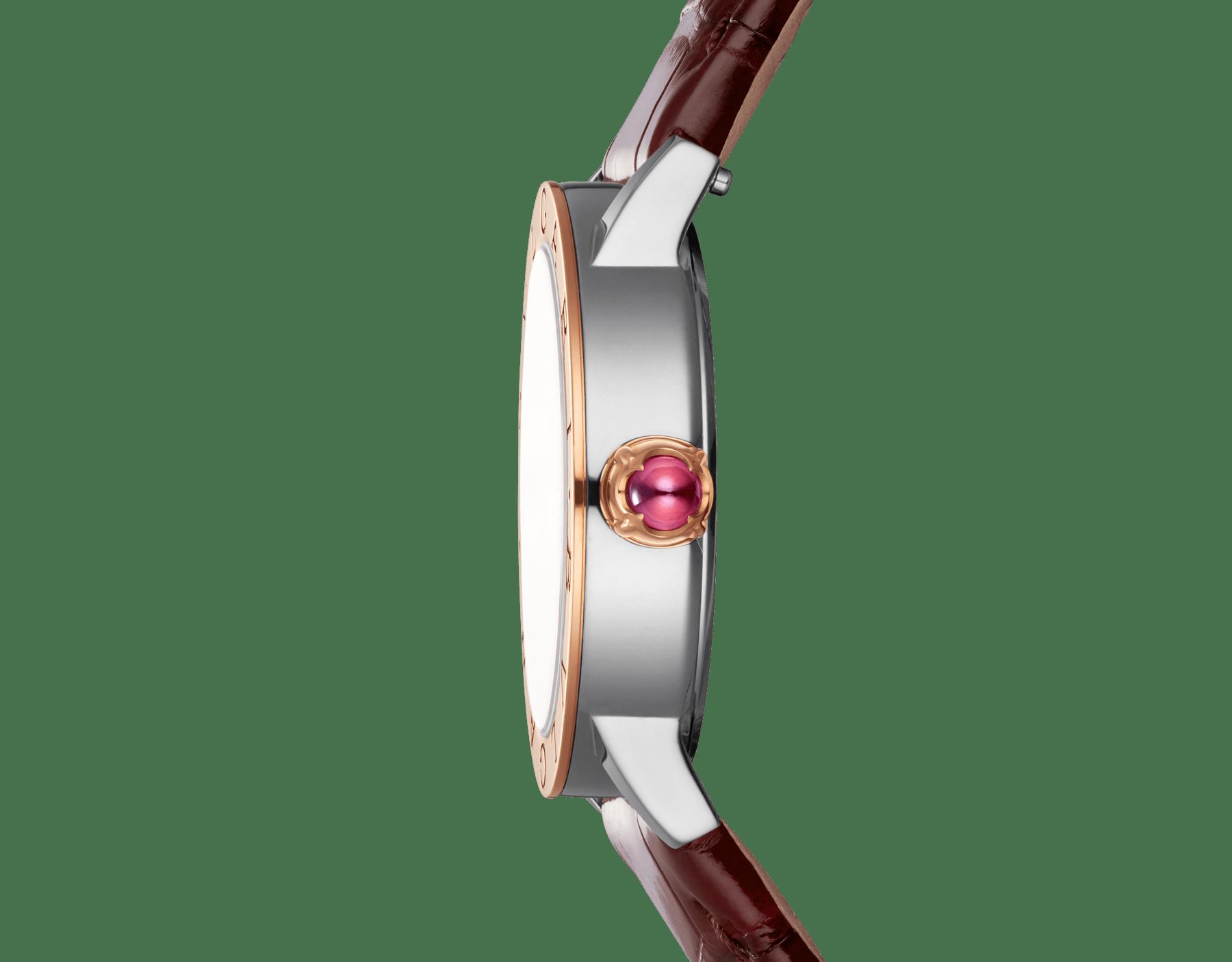 Relógio BVLGARIBVLGARI com caixa em aço inoxidável, bezel em ouro rosa 18K, mostrador laqueado acetinado marrom soleil, índices de diamante dourados e pulseira em couro de jacaré marrom escuro brilhante 102742 image 3