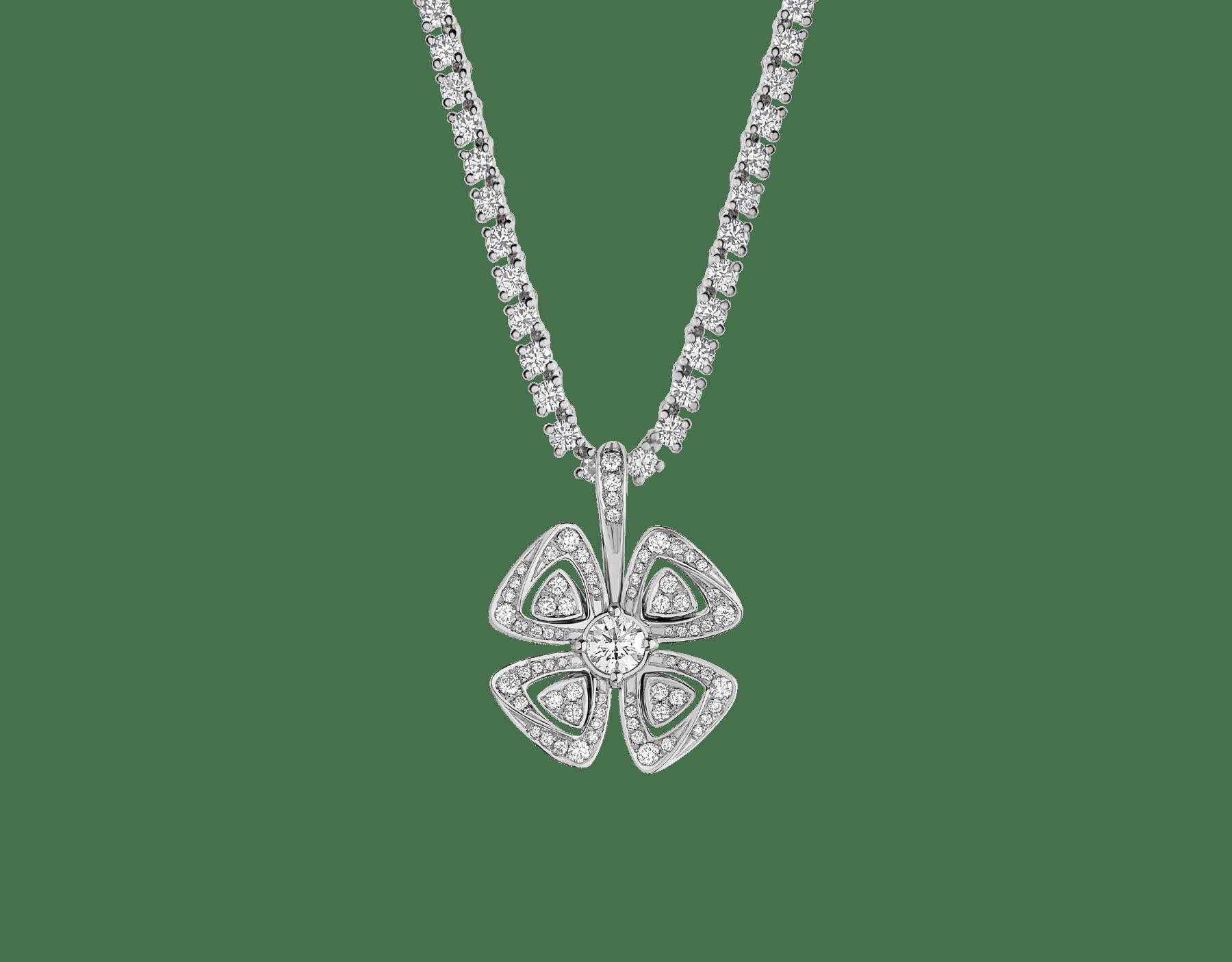 Fiorever 18 kt white gold convertible pendant necklace set with brilliant-cut diamonds (5.55 ct) and pavé diamonds (0.41 ct) 358351 image 1