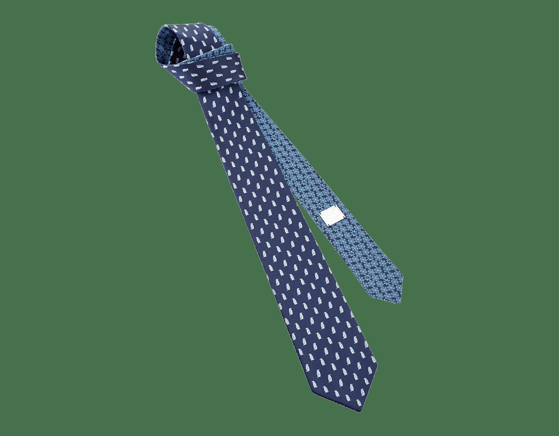 "Navy ""Double Polar"" tie in fine jacquard silk. 244436 image 1"