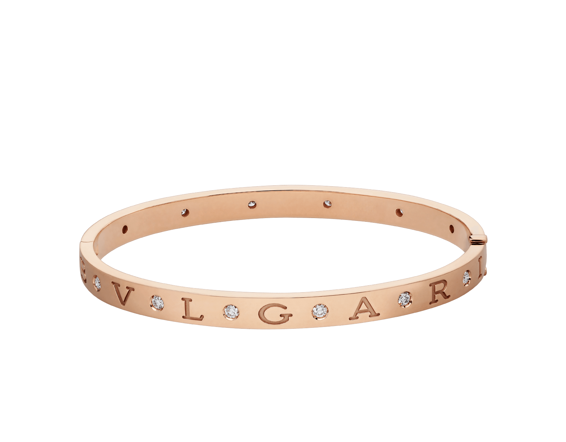 BVLGARI BVLGARI 18 kt rose gold bangle bracelet set with twelve diamonds. BR858007 image 2