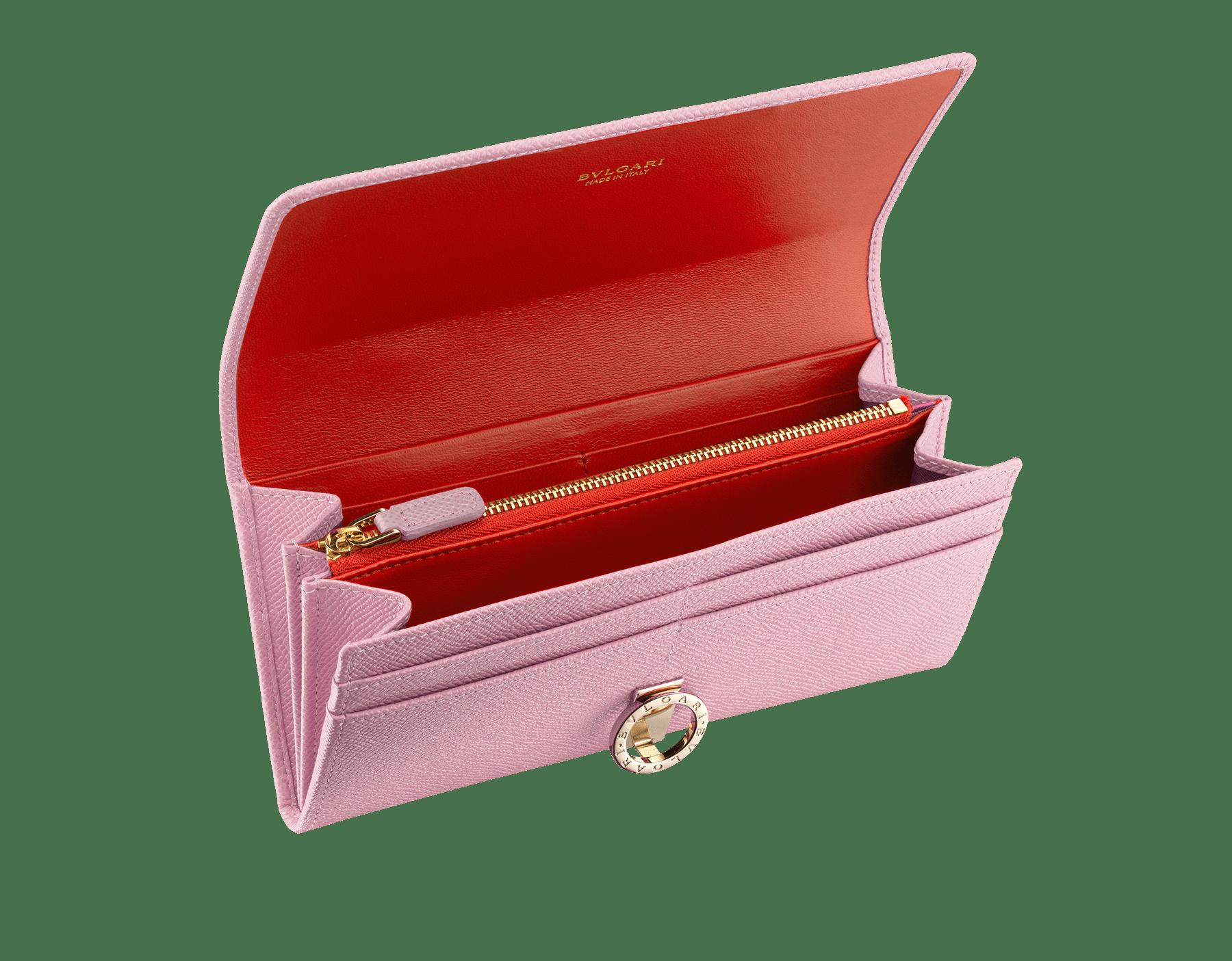 Wallet pochette in pink agate bright grain calf leather and jasper flame nappa. Brass light gold plated hardware and iconic Bulgari-Bulgari closure clip. 282869 image 2