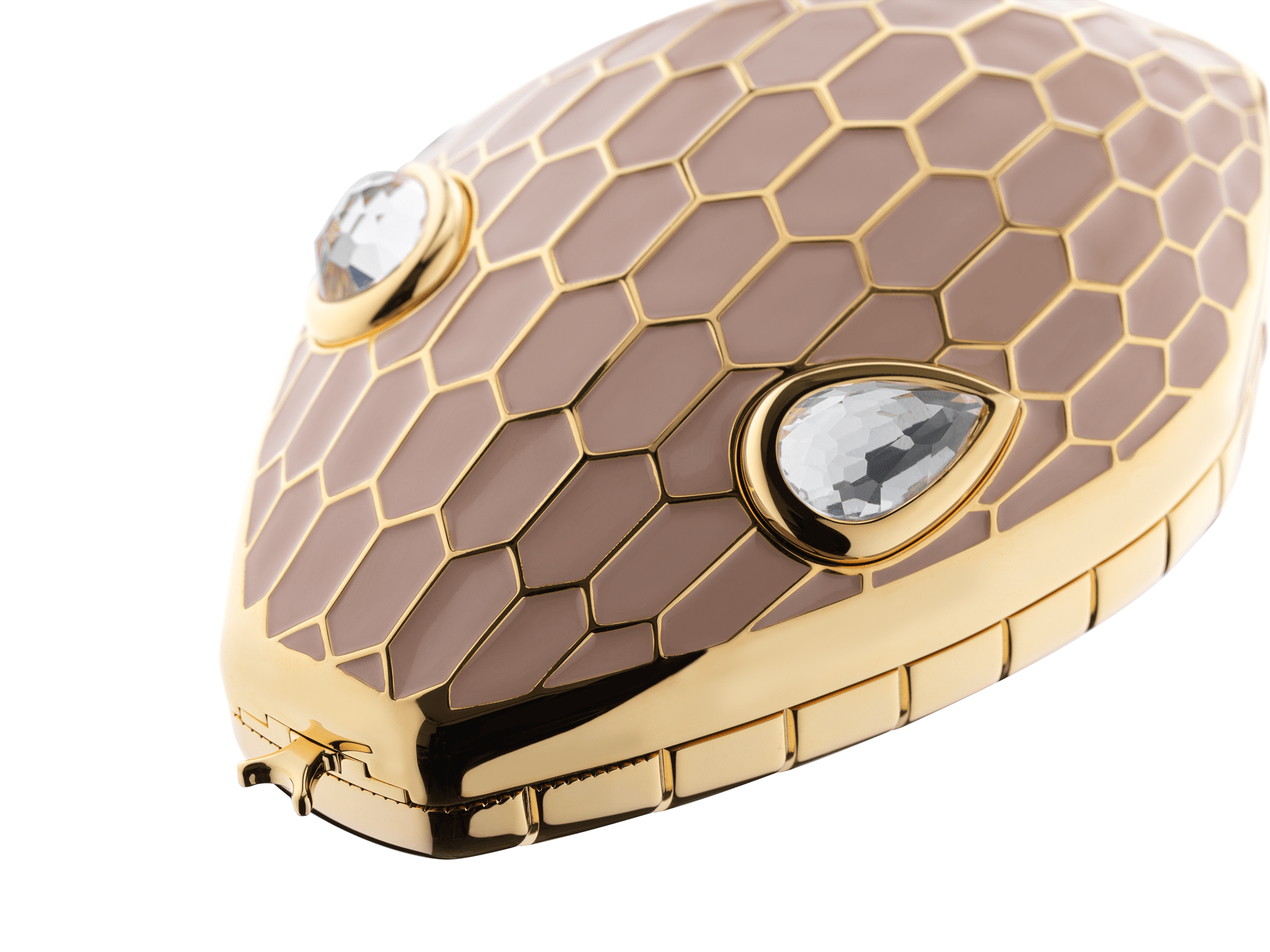 """""""Mary Katrantzou x Bvlgari"""" minaudière in light gold-plated brass with multicolour enamel scales, finished with seductive crystal eyes. Special Edition. MK-1153 image 4"""