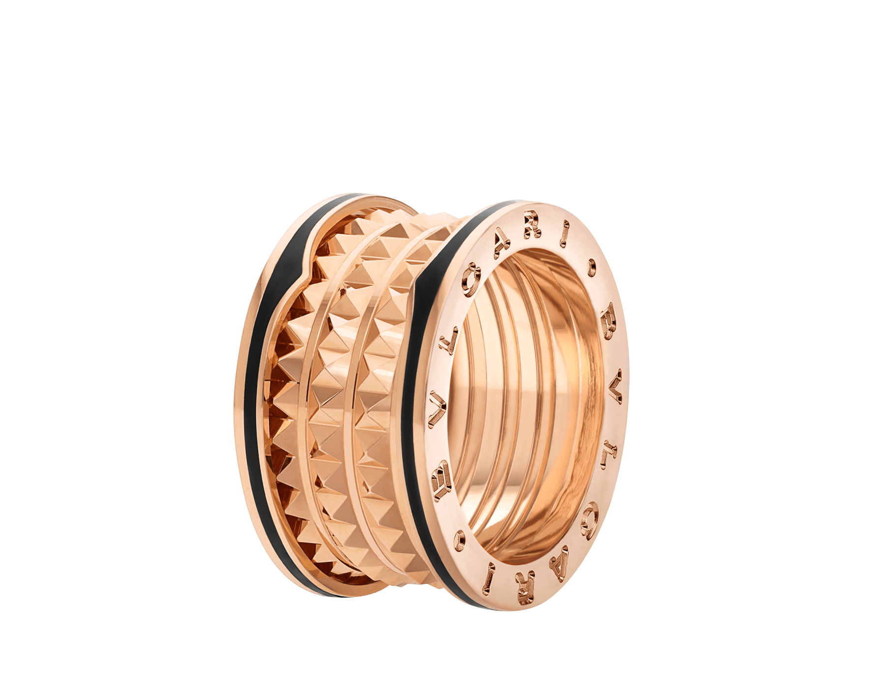 B.zero1 Rock four-band ring in 18 kt rose gold with studded spiral and black ceramic inserts on the edges. AN859089 image 1