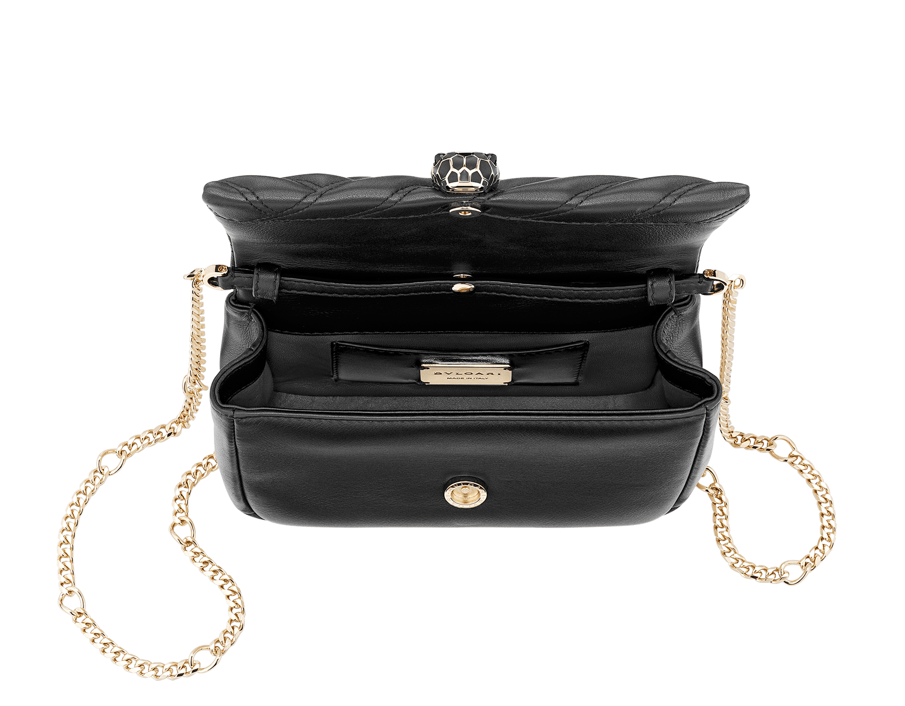 Serpenti Cabochon micro bag in soft matelassé black calf leather, with a graphic motif. Brass pink gold plated tempting snake head closure in black enamel and black onyx eyes. 288755 image 4
