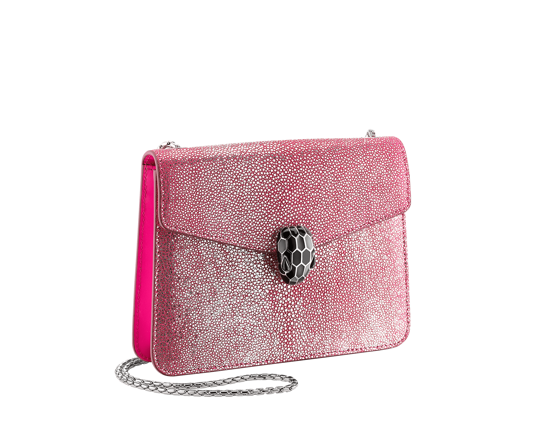 """""""Serpenti Forever"""" crossbody bag in flash amethyst crystal galuchat skin. Iconic snake head closure in palladium plated brass enriched with black enamel and black onyx eyes. 288996 image 2"""