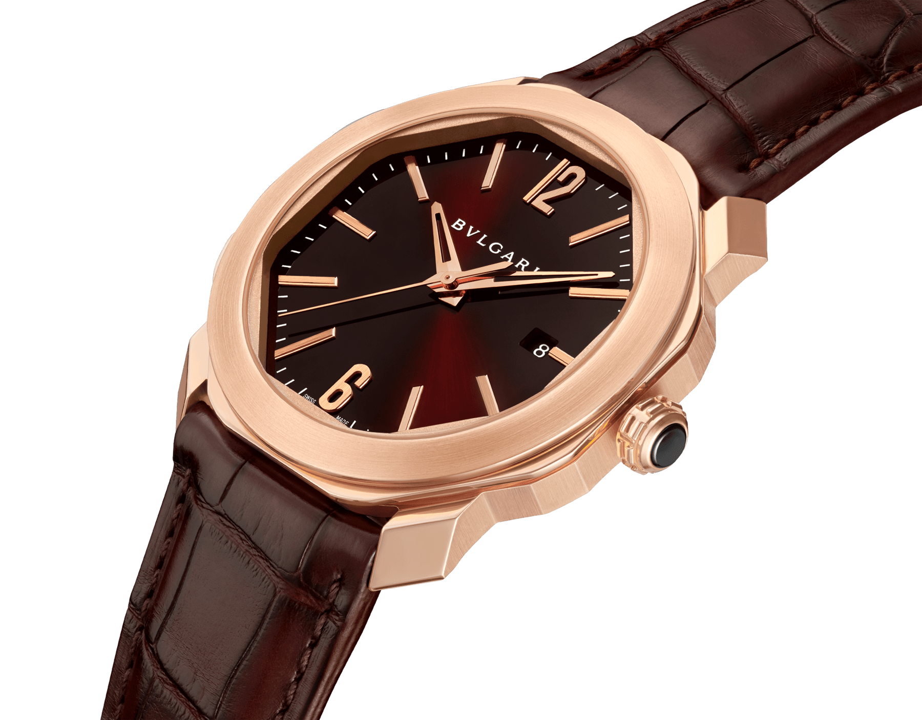Octo Roma watch with mechanical manufacture movement, automatic winding, 18 kt rose gold case, dark brown lacquered dial and brown alligator bracelet. 102702 image 2
