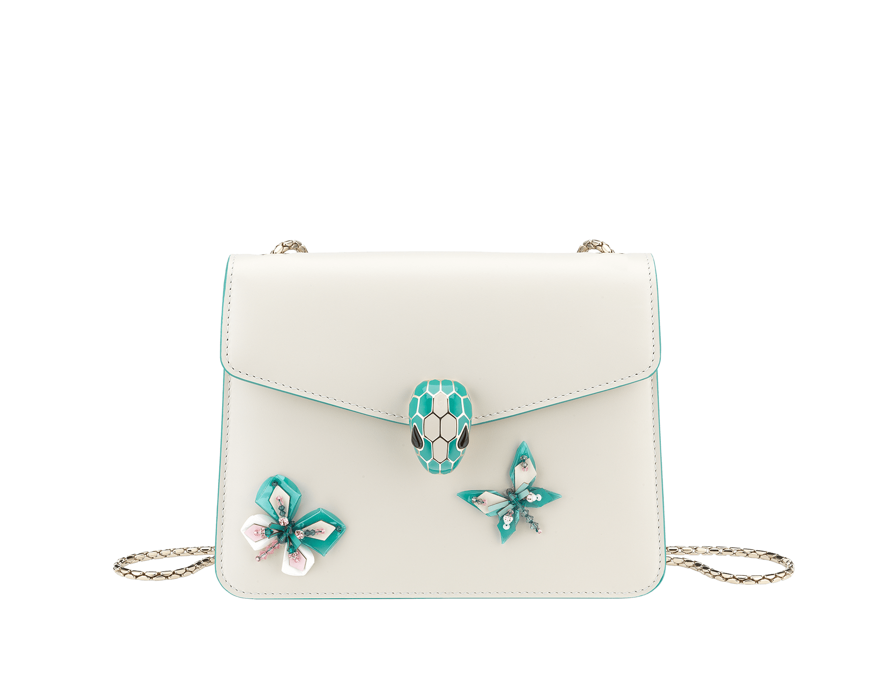 """Serpenti Forever"" crossbody bag in white agate calf leather with two arctic jade butterflies embroidered. Iconic snakehead closure in light gold plated brass enriched with arctic jade and white agate enamel and black onyx eyes. 289247 image 1"