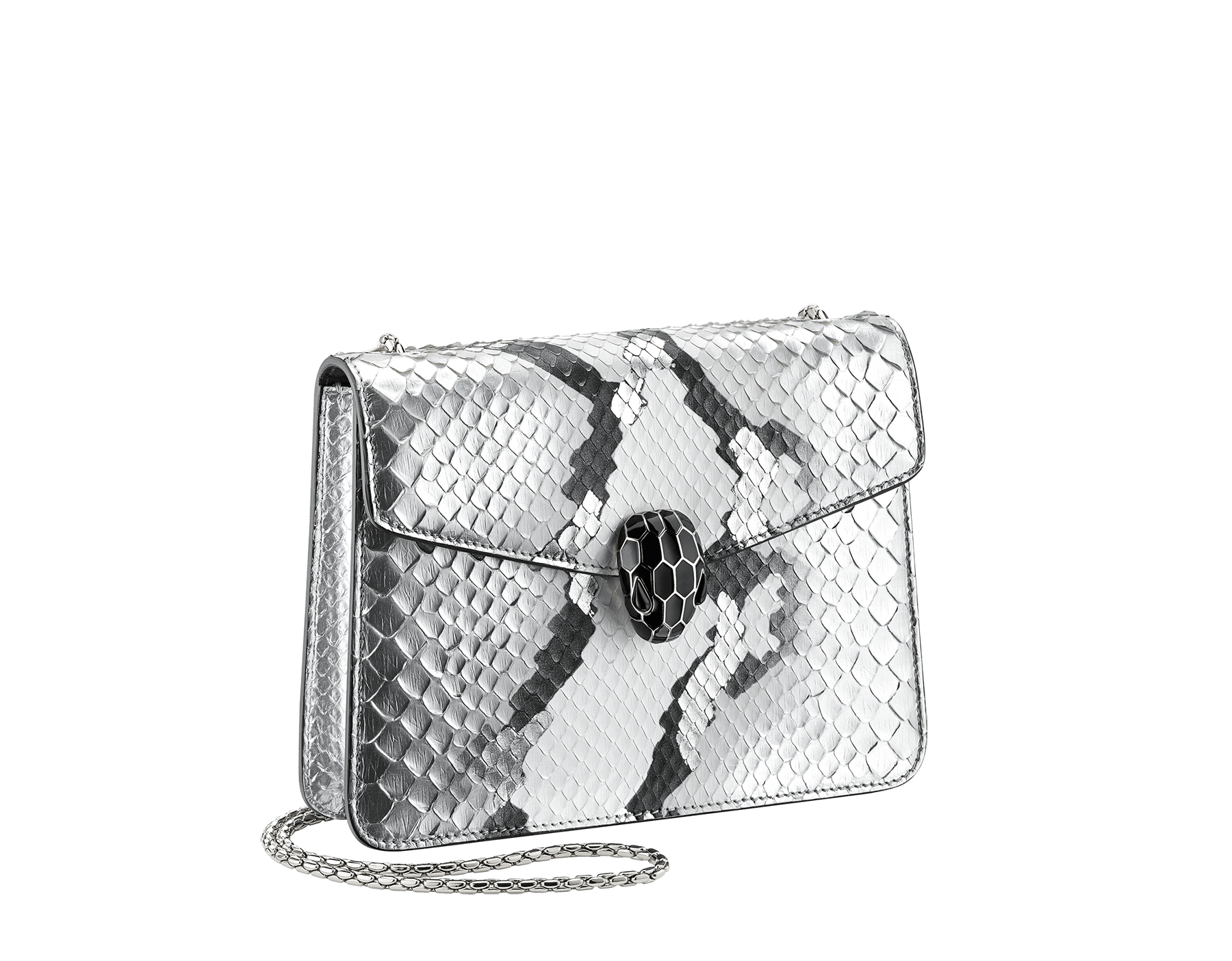 """Serpenti Forever"" crossbody bag in roccia ""Mineral"" python skin. Iconic snakehead closure in light gold plated brass enriched with black and hawk's eye enamel, and black onyx eyes. 422-Pb image 2"