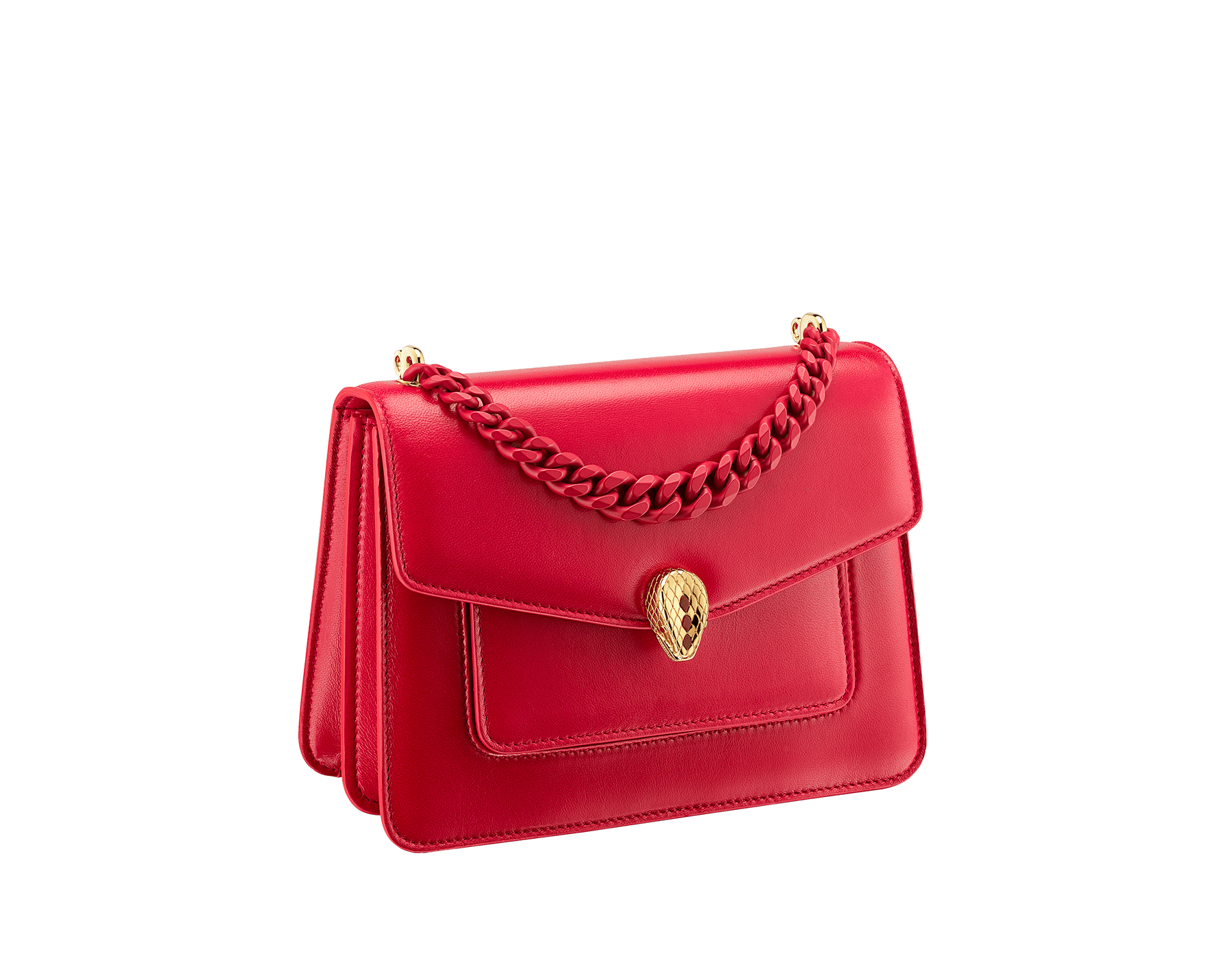"""""""Serpenti Forever"""" small maxi chain crossbody bag in Magenta Spinel purple nappa leather, with Roman Garnet bordeaux nappa leather internal lining. New Serpenti head closure in gold plated brass, finished with small purple rhodonite scales in the middle and red enamel eyes. 1134-MCN image 2"""