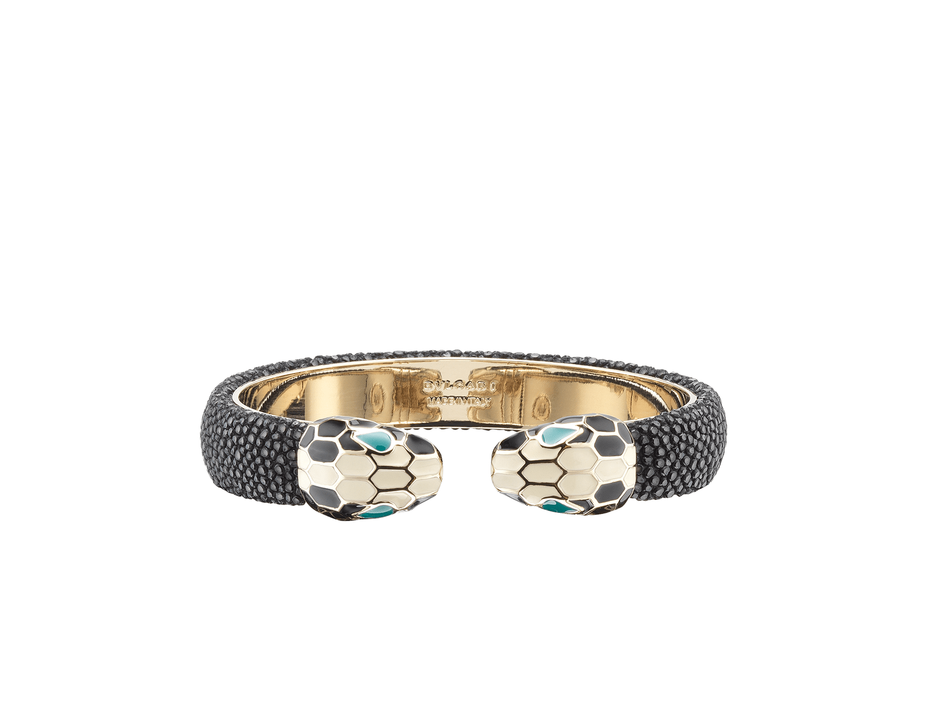 Serpenti Forever bangle bracelet in black galuchat skin, with brass light gold plated hardware. SPContr-G-B image 1