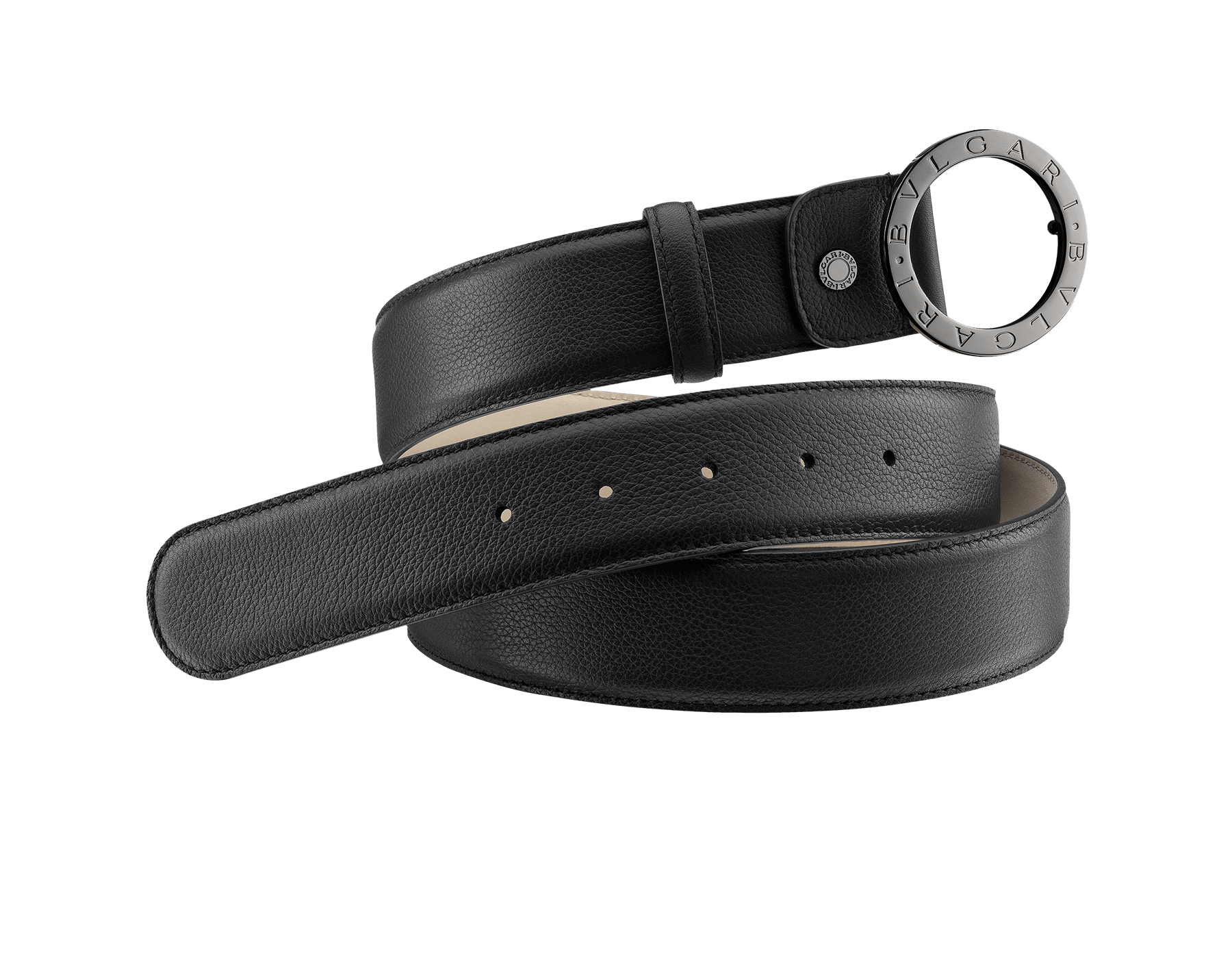 Man belt in black full grain calf leather with iconic round BVLGARI BVLGARI closure in dark ruthenium plated hardware. Also available in other colours and materials in-store. Resizable/Adjustable 281920 image 1