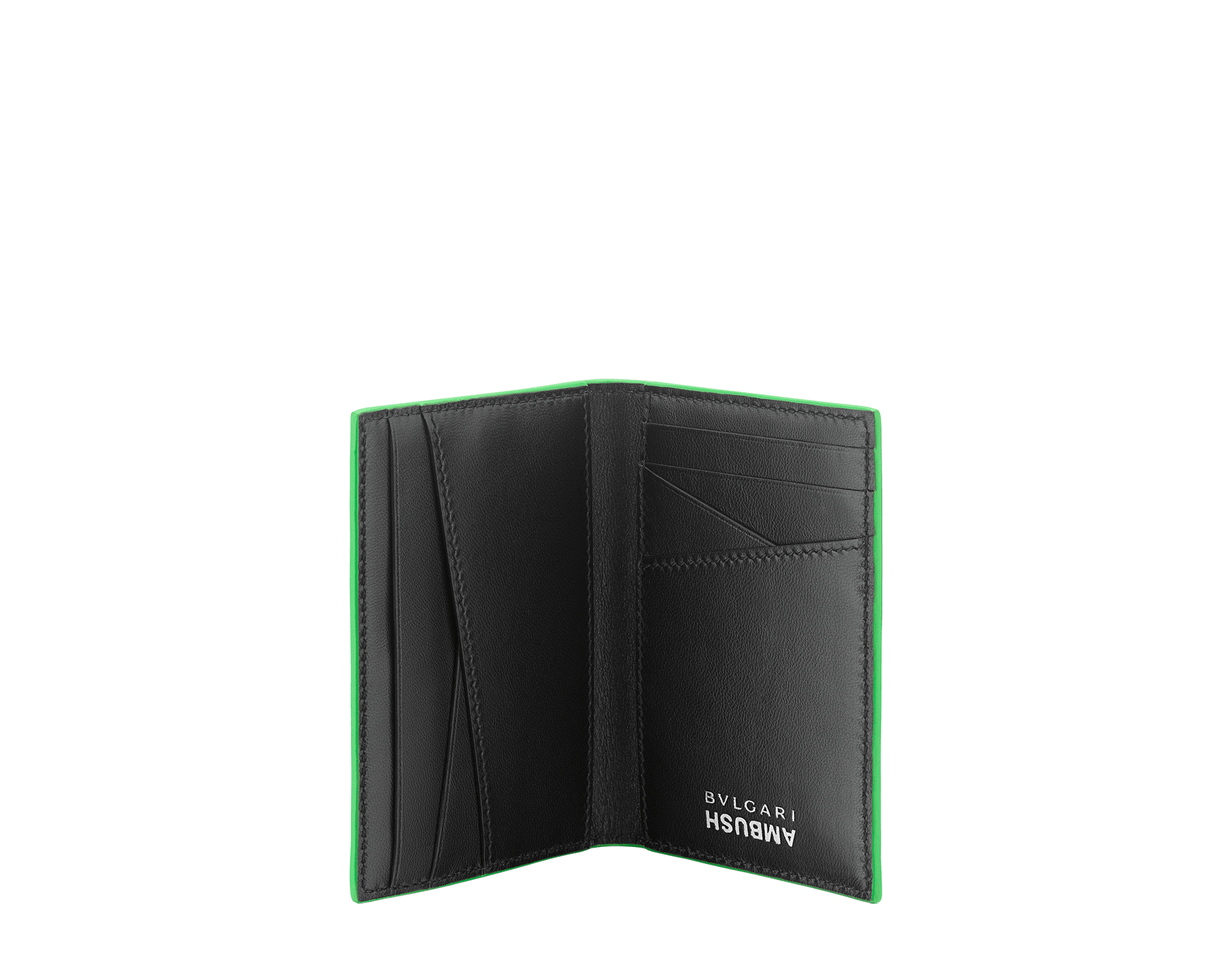 """Ambush x Bvlgari"" vertical card holder in bright green and black nappa leather, palladium-plated brass ""BVLGARI AMBUSH"" décor on one side and special ""BVLGARI AMBUSH"" logo print on the other. Limited Edition. 290359 image 2"