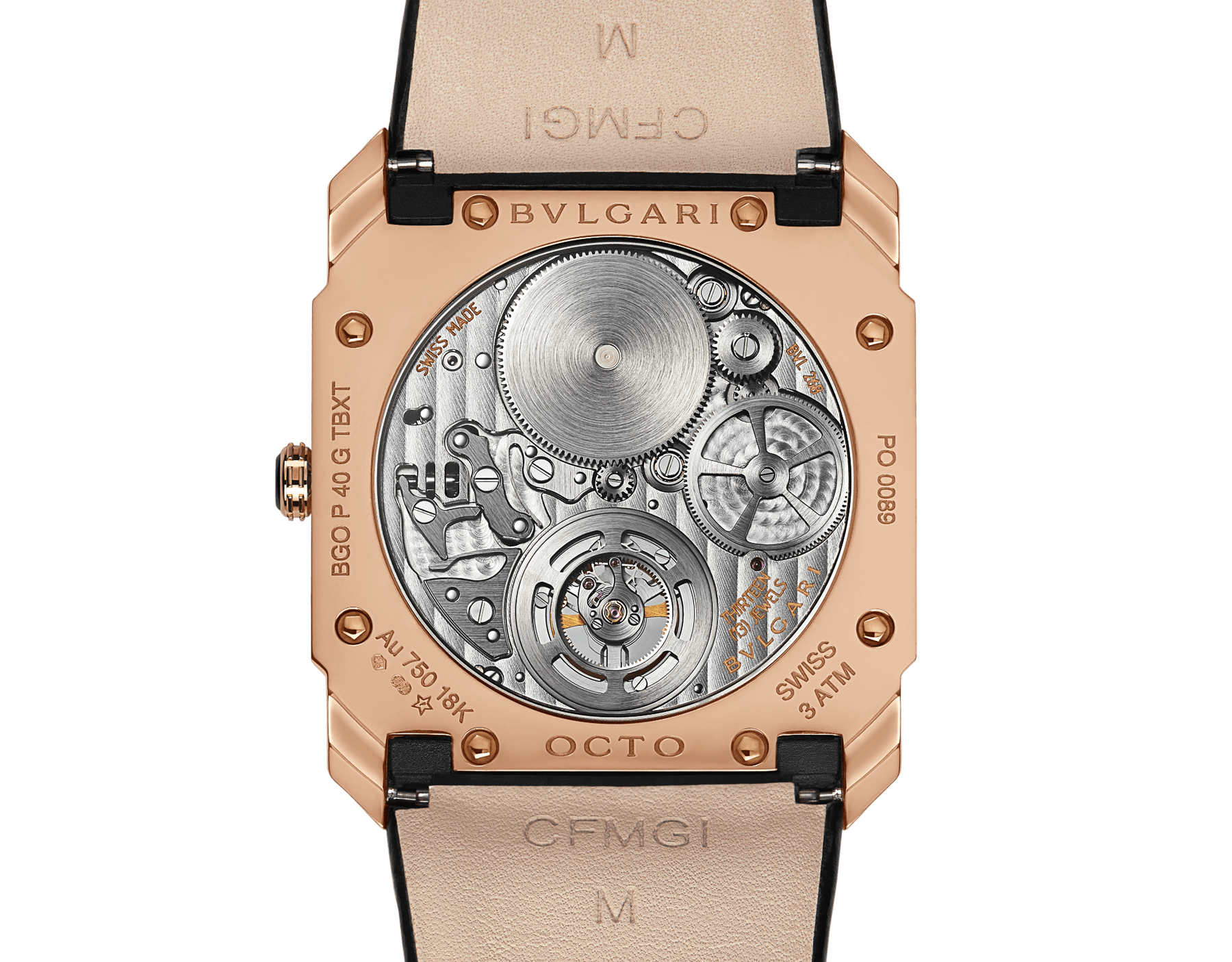 Octo Finissimo Tourbillon watch with extra thin mechanical manufacture movement, manual winding and ball-bearing system, 18 kt rose gold case, black lacquered dial with tourbillon see-through opening and black alligator bracelet. 102346 image 4