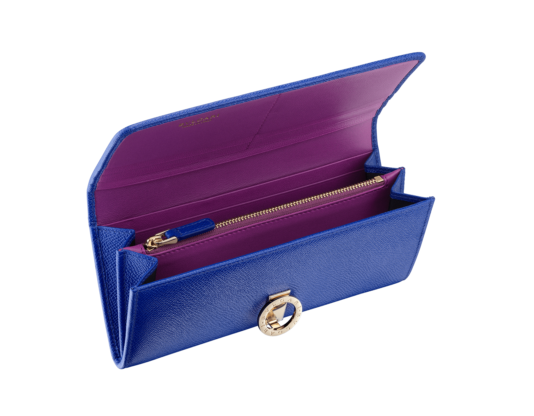 BVLGARI BVLGARI wallet pochette in cobalt tourmaline grain calf leather and aster amethyst nappa leather. Iconic logo closure clip in light gold plated brass 287299 image 2