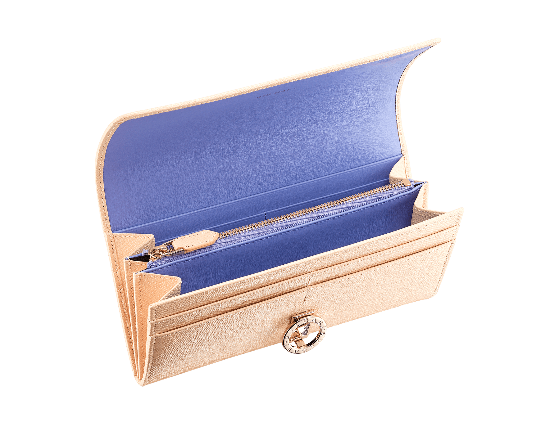 鮮やかなミントのグレインカーフレザーとタフィークォーツのナッパレザーのラージサイズのブルガリ・ブルガリ ウォレット。ブラスライトゴールドプレートのアイコニックなロゴのクロージャークリップ。 579-WLT-POCHE-16CCa image 2