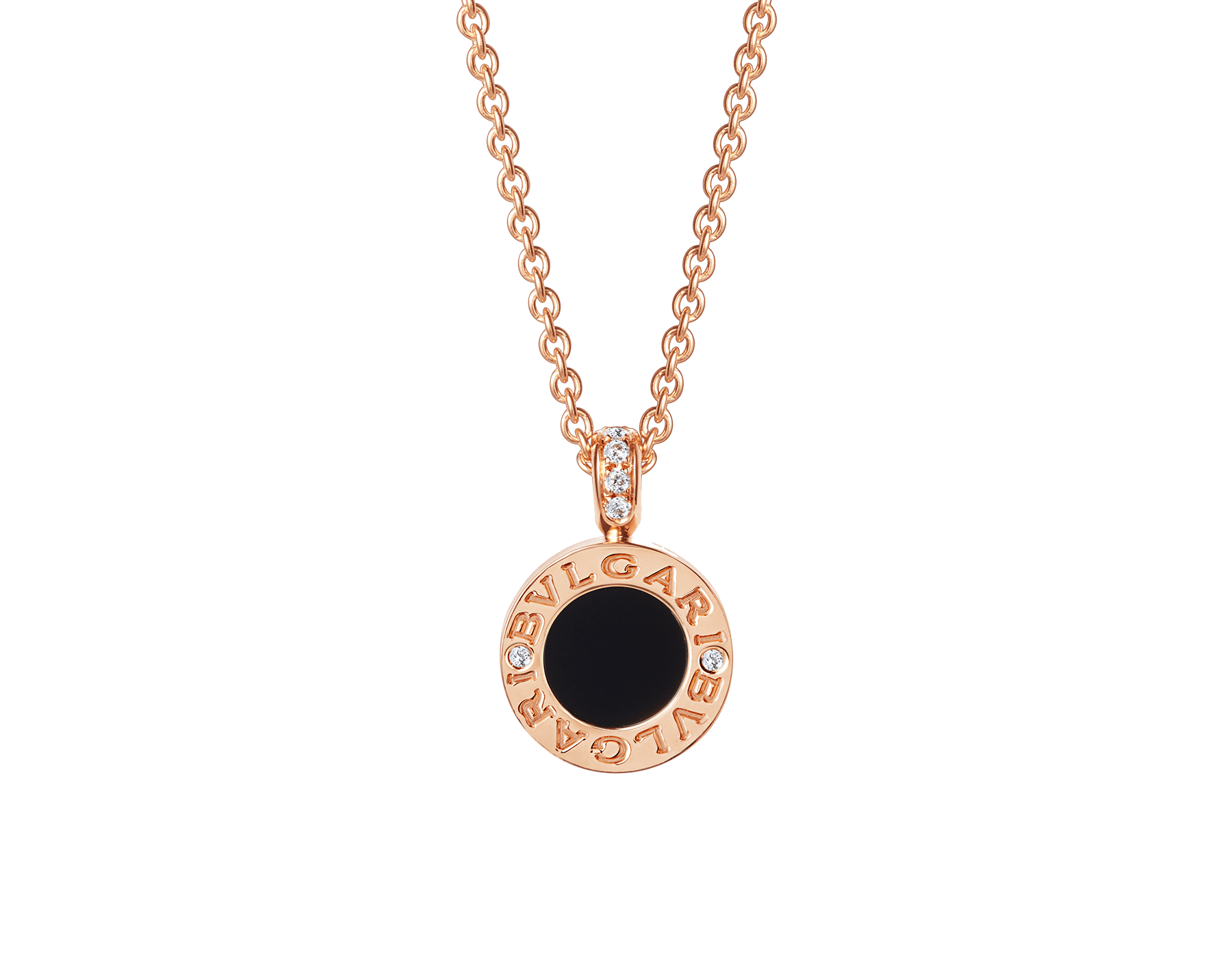 BVLGARI BVLGARI 18 kt rose gold chain and 18 kt rose gold pendant set with mother-of-pearl, onyx and pavé diamonds 347761 image 3