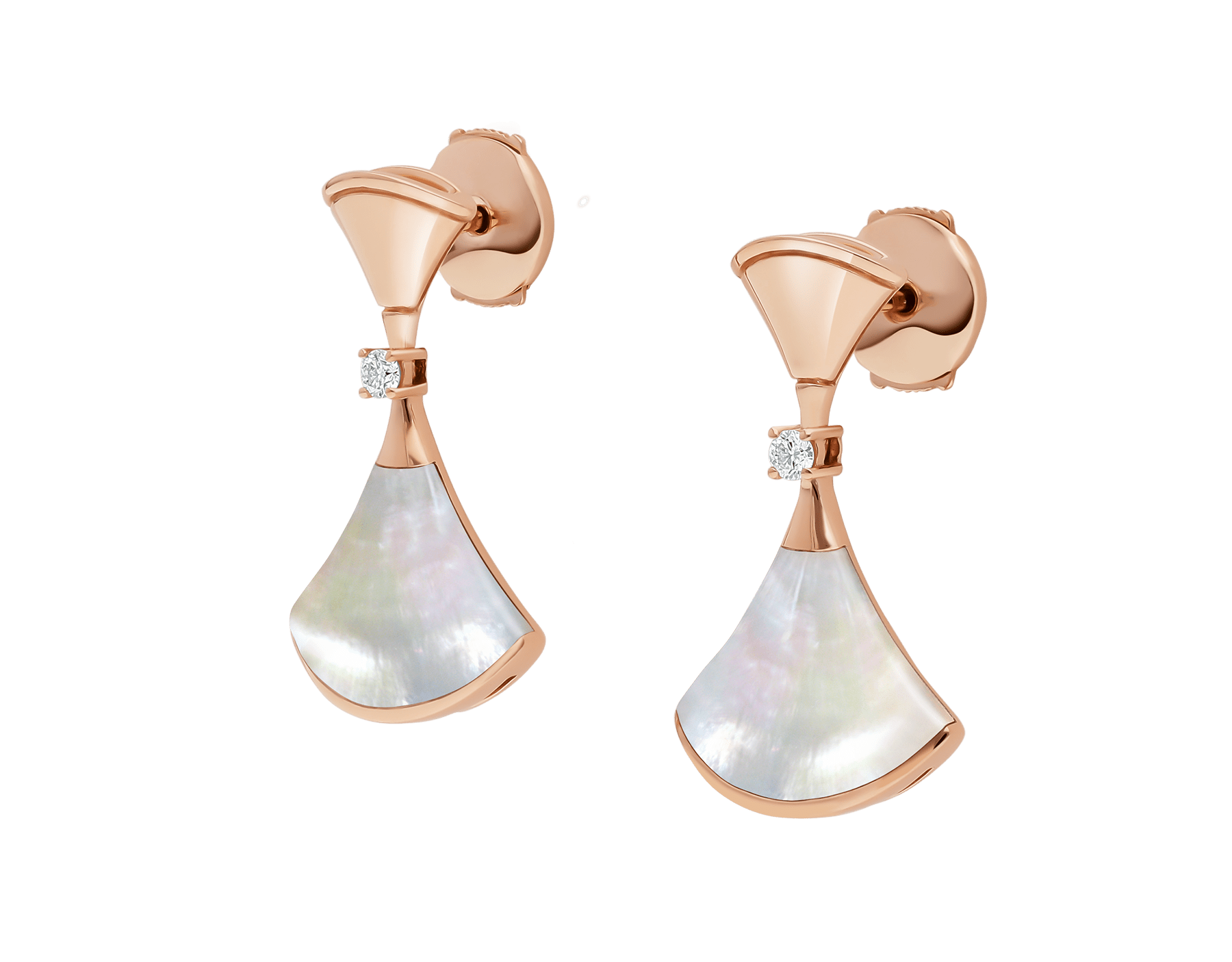 DIVAS' DREAM earrings in 18 kt rose gold set with mother-of-pearl and diamonds. 350740 image 2