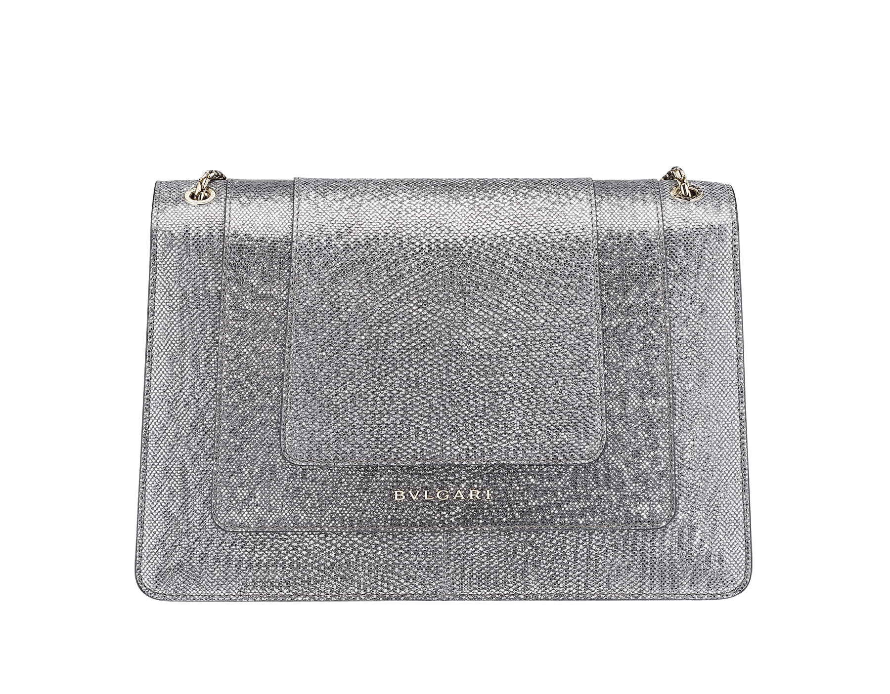 Flap cover bag Serpenti Forever in metallic silver karung skin. Brass light gold plated tempting snake head closure in shiny black and glitter silver enamel, with eyes in black onyx.  521-MK image 3