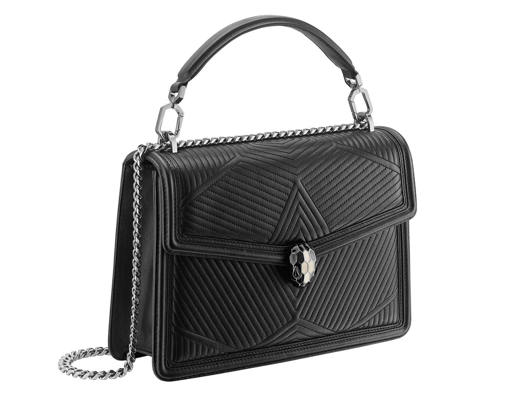 """Serpenti Diamond Blast"" shoulder bag in black quilted nappa leather body and black calf leather frames. Iconic snakehead closure in dark ruthenium plated brass enriched with black and white enamel and black onyx eyes. 973-FQDa image 2"