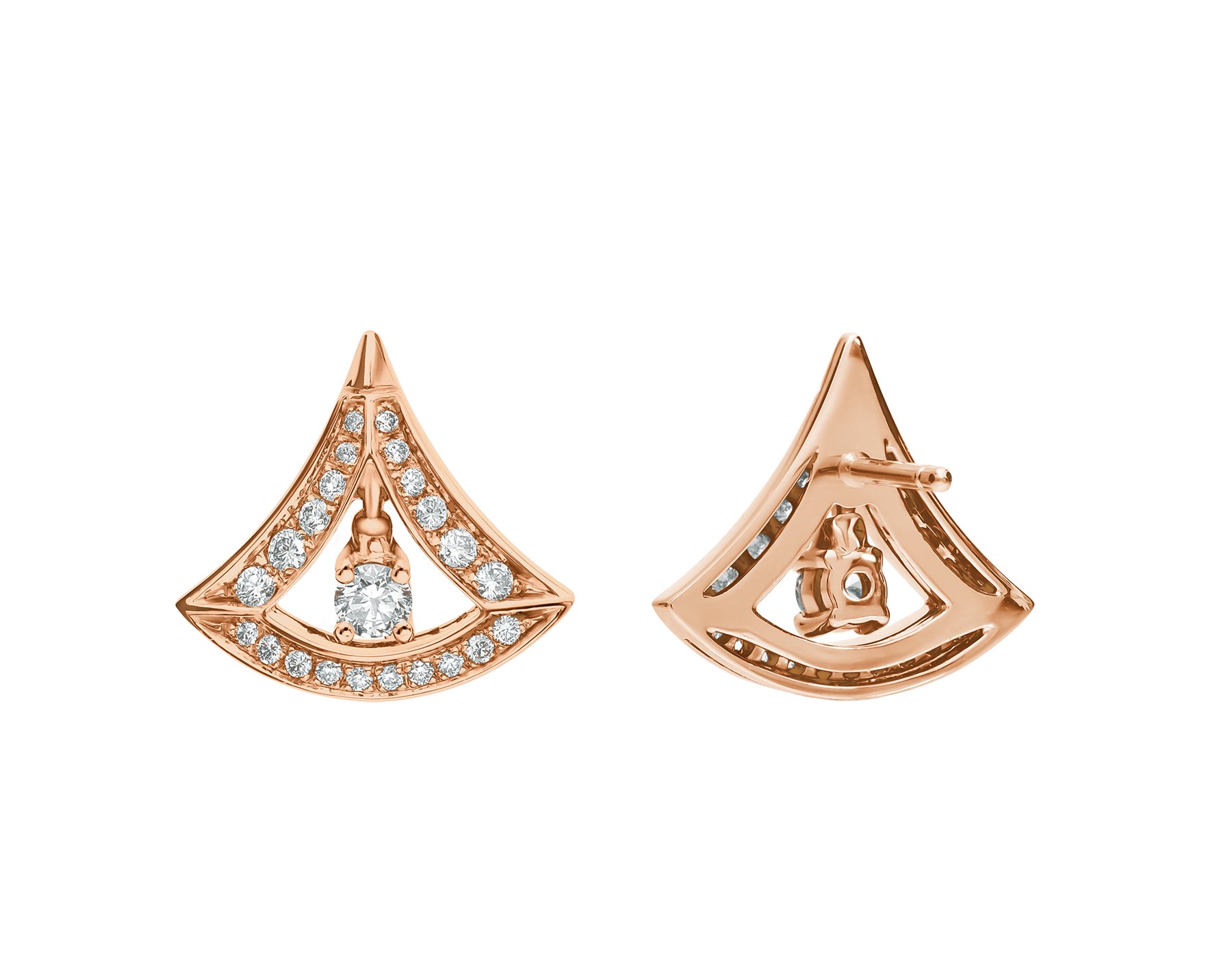 DIVAS' DREAM 18 kt rose gold earrings, set with round brilliant-cut diamonds and pavé diamonds. 356450 image 3