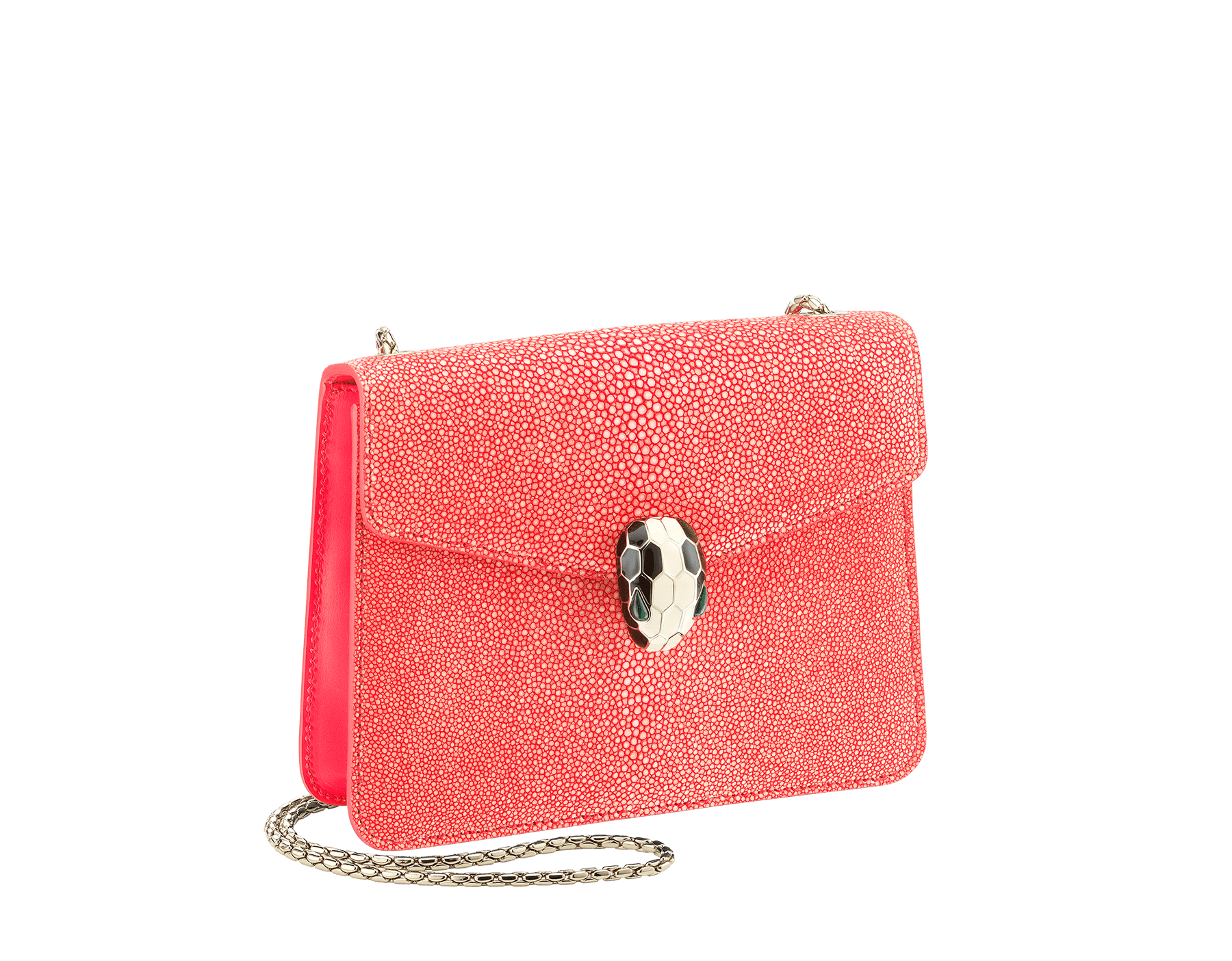 """Serpenti Forever"" crossbody bag with a multicolored ""Multishaded"" galuchat skin body and berry tourmaline calf leather sides. Iconic snakehead closure in dark ruthenium plated brass enriched with berry tourmaline and black enamel, and black onyx eyes. 422-FG image 2"