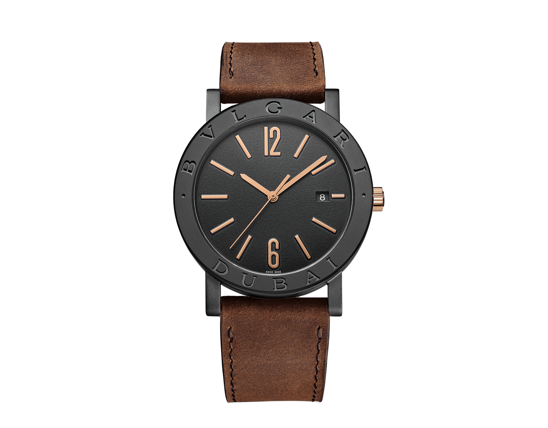 """ساعة """"بولغري بولغري سيتيز سبيشل إيديشن، DUBAI"""" بآلية حركة ميكانيكية مصنّعة من قبل بولغري، تعبئة أوتوماتيكية، آلية BVL 191.، علبة الساعة من الفولاذ المعالج بالكربون الأسود الشبيه بالألماس مع نقش """"BVLGARI DUBAI"""" على إطار الساعة، غطاء خلفي شفاف، ميناء مطلي بالمينا الأسود الخشن ومؤشرات الساعة من الذهب الوردي، سوار من جلد العجل البني، وسوار قابل للتبديل من المطاط الأسود. 103225 image 1"""