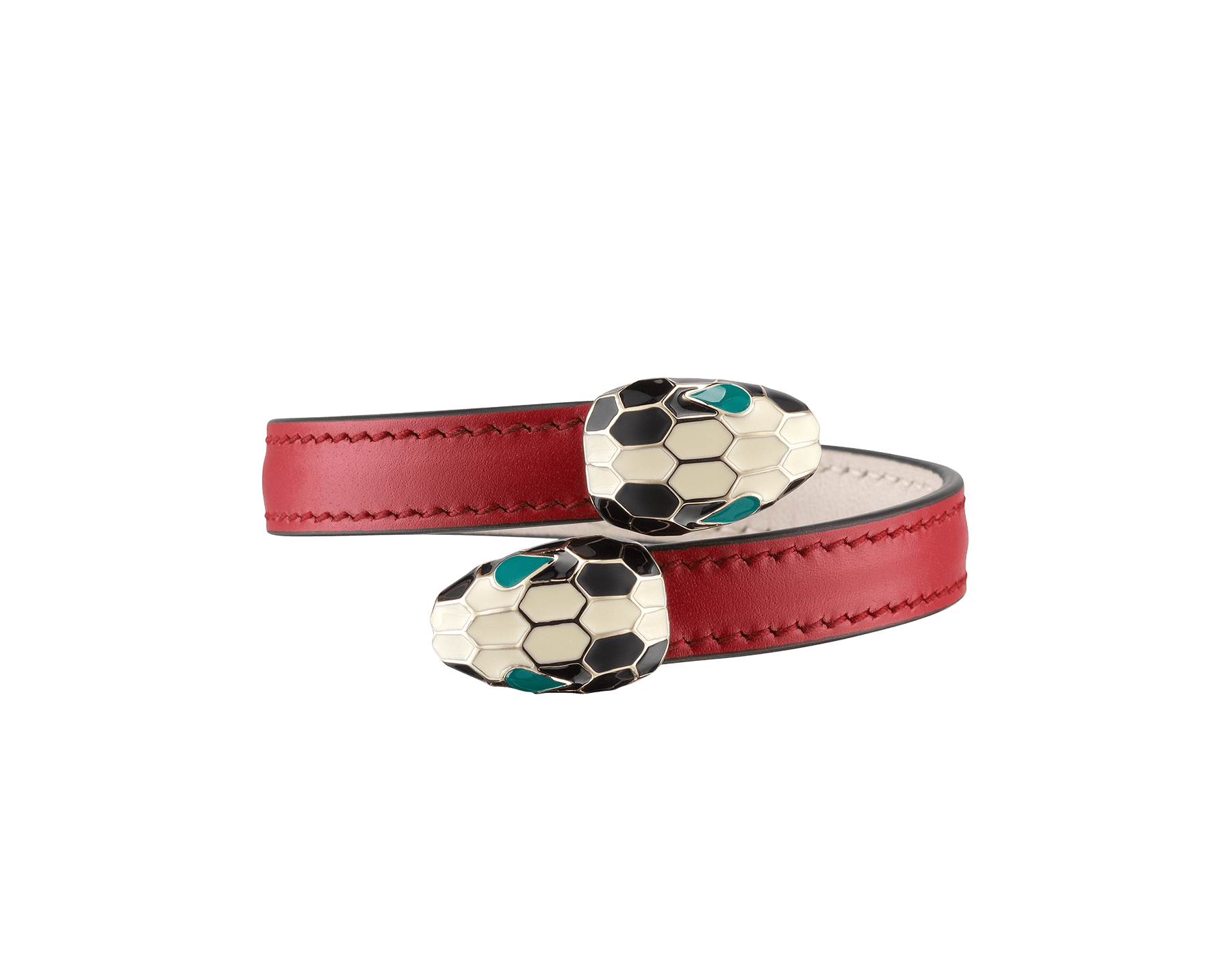Serpenti Forever soft bangle bracelet in ruby red calf leather, with brass light gold plated hardware. Iconic contraire snakehead décor in black and white enamel, with green enamel eyes SerpSoftContr-CL-RR image 1