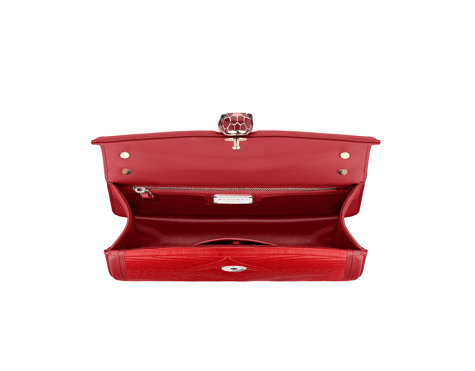 """Serpenti Diamond Blast"" shoulder bag in carmine jasper quilted nappa leather body and ruby red calf leather frames. Iconic snakehead closure in light gold plated brass enriched with carmine jasper and ruby red enamel and black onyx eyes 287190 image 2"