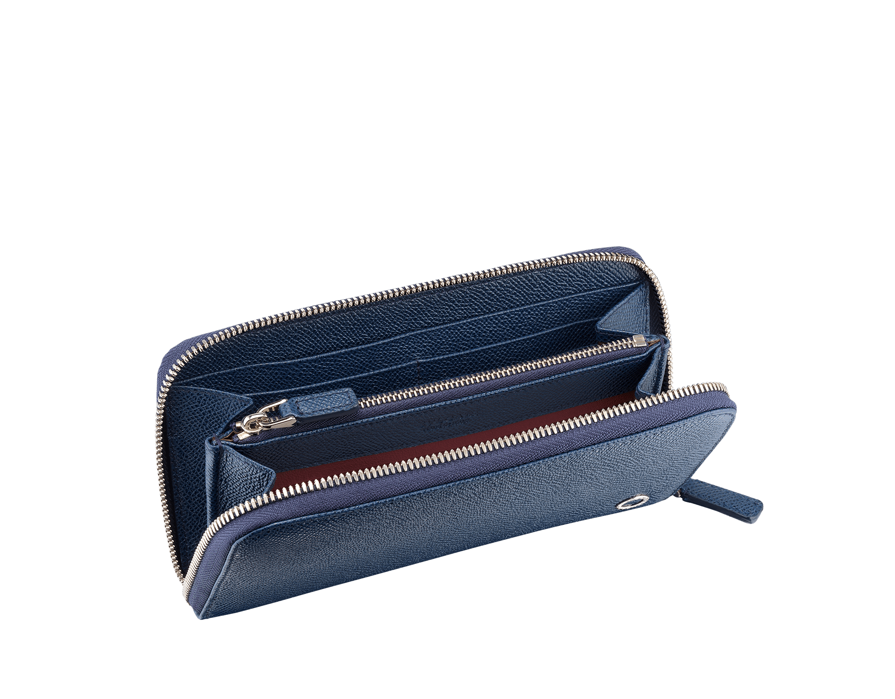"""BVLGARI BVLGARI"" large zipped wallet in Pluto Stone gray and Denim Sapphire blue grained calf leather. Iconic logo-bearing embellishment in palladium-plated brass. BBM-WLT-M-ZIPa image 2"