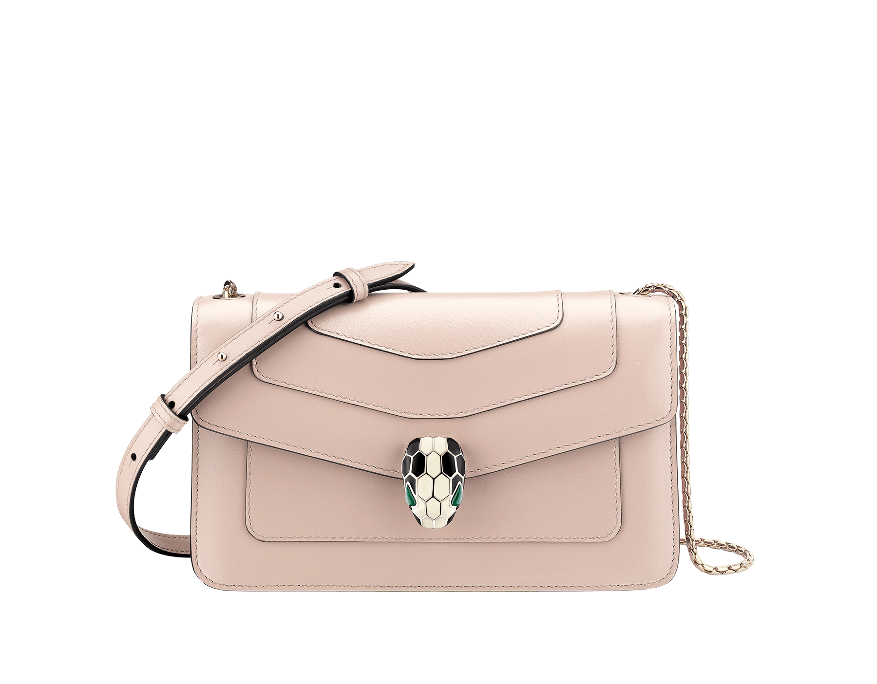 """Serpenti Forever"" crossbody bag in crystal rose calf leather. Iconic snakehead closure in light gold plated brass enriched with black and white enamel and green malachite eyes 625-CLa image 1"