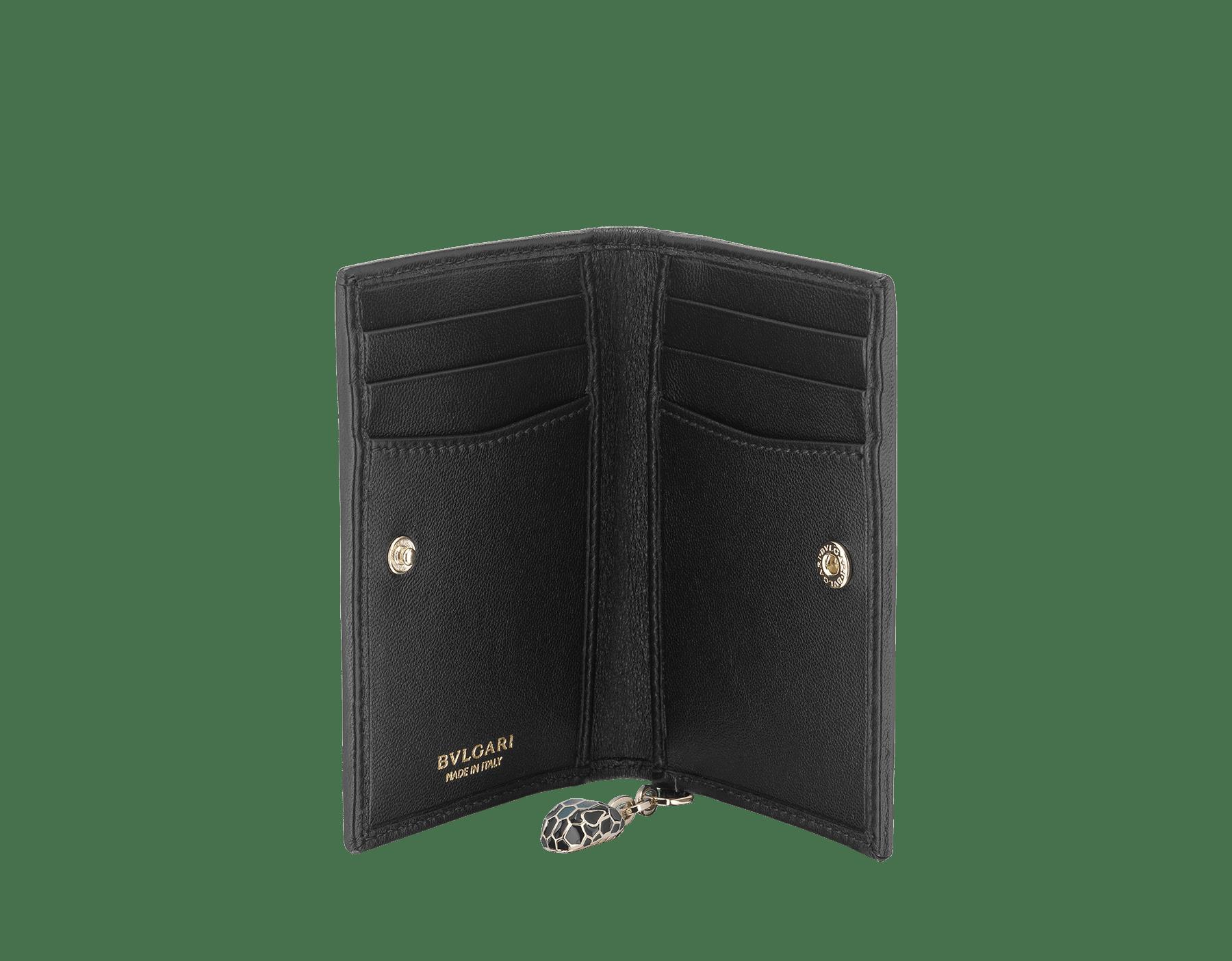 Serpenti Diamond Blast folded credit card holder in deep jade quilted nappa leather. Iconic snakehead charm in black and deep jade enamel, with black enamel eyes. 288145 image 2