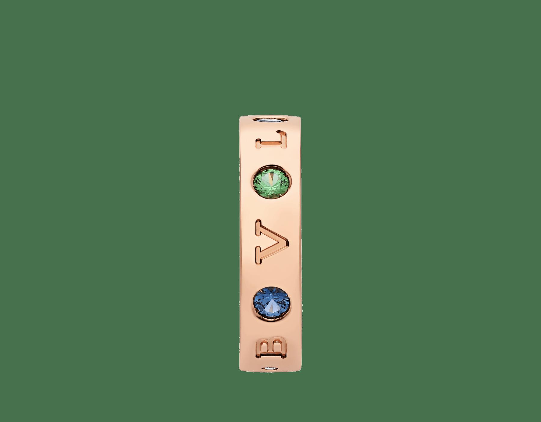 Anillo BVLGARI BVLGARI en oro rosa de 18qt con zafiros azules y tsavoritas engastados. AN857671 image 2
