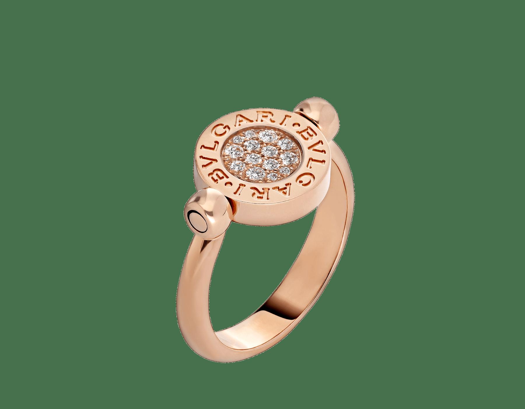 Bague réversible BVLGARI BVLGARI en or rose 18K sertie d'éléments en jade et pavé diamants AN857356 image 3
